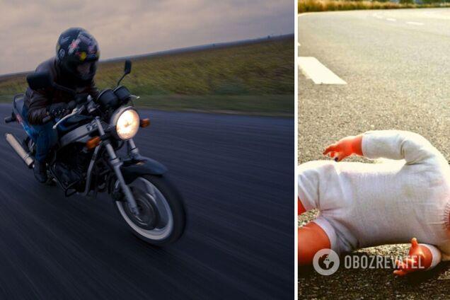 На Прикарпатье 17-летний мотоциклист сбил мать с ребенком на переходе: девочка умерла. Фото и видео