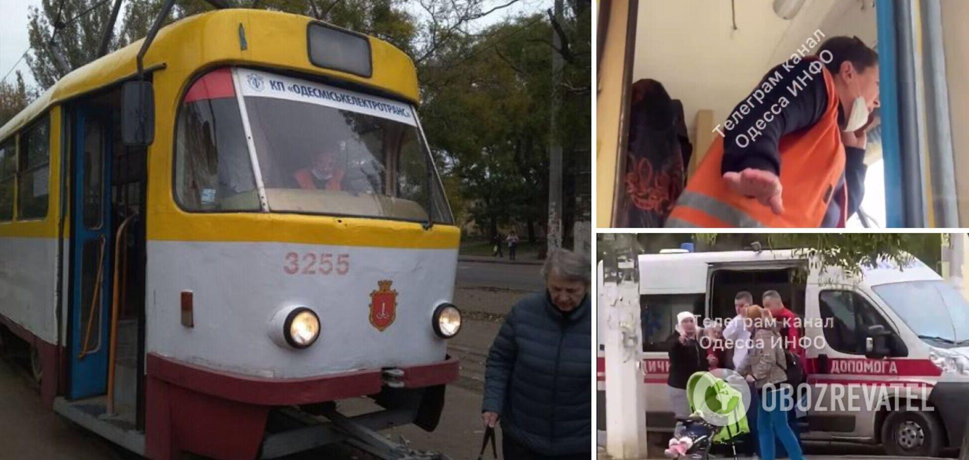 В Одесі з трамвая випала пенсіонерка, водійка намагалася втекти з місця НП. Відео