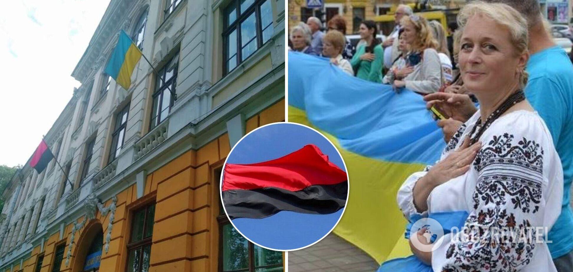 На директорку ліцею №5 поскаржилися через вивишенного на фасаді червоно-чорного прапора