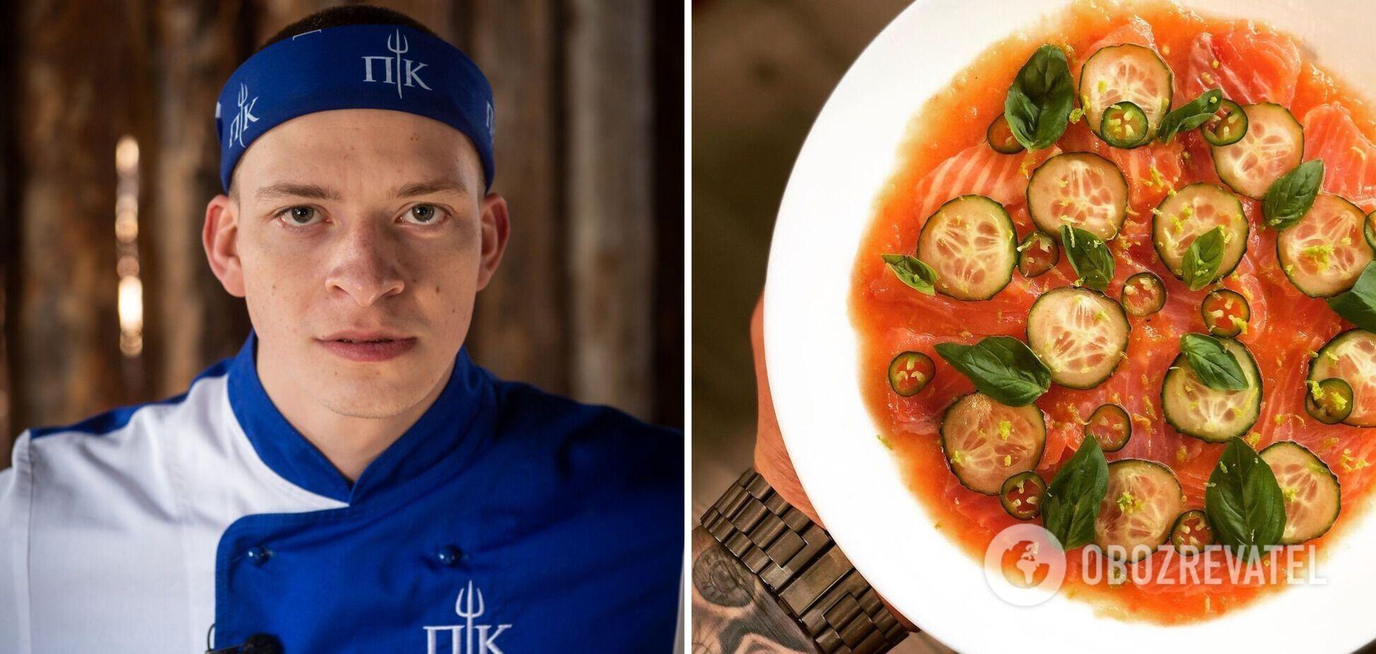 Александр Громлюкподелился рецептом вкусного карпаччо из лосося