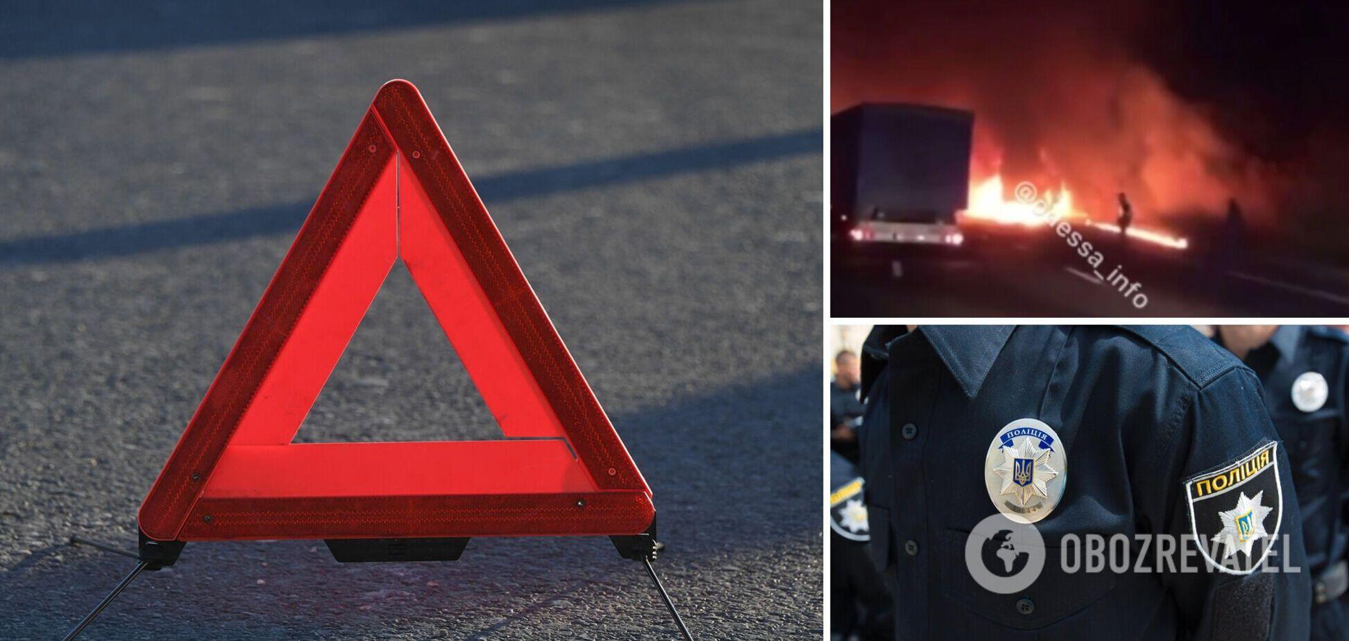 На трасі Київ – Одеса зіткнулися два зерновози, водій однієї вантажівки згорів у кабіні. Відео 18+