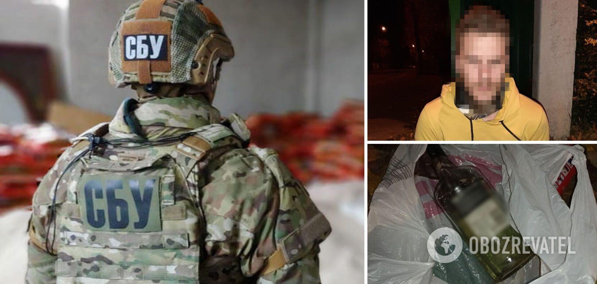 В Киеве мужчина бросил коктейль Молотова в дом замруководителя ОПУ: злоумышленника задержали. Фото