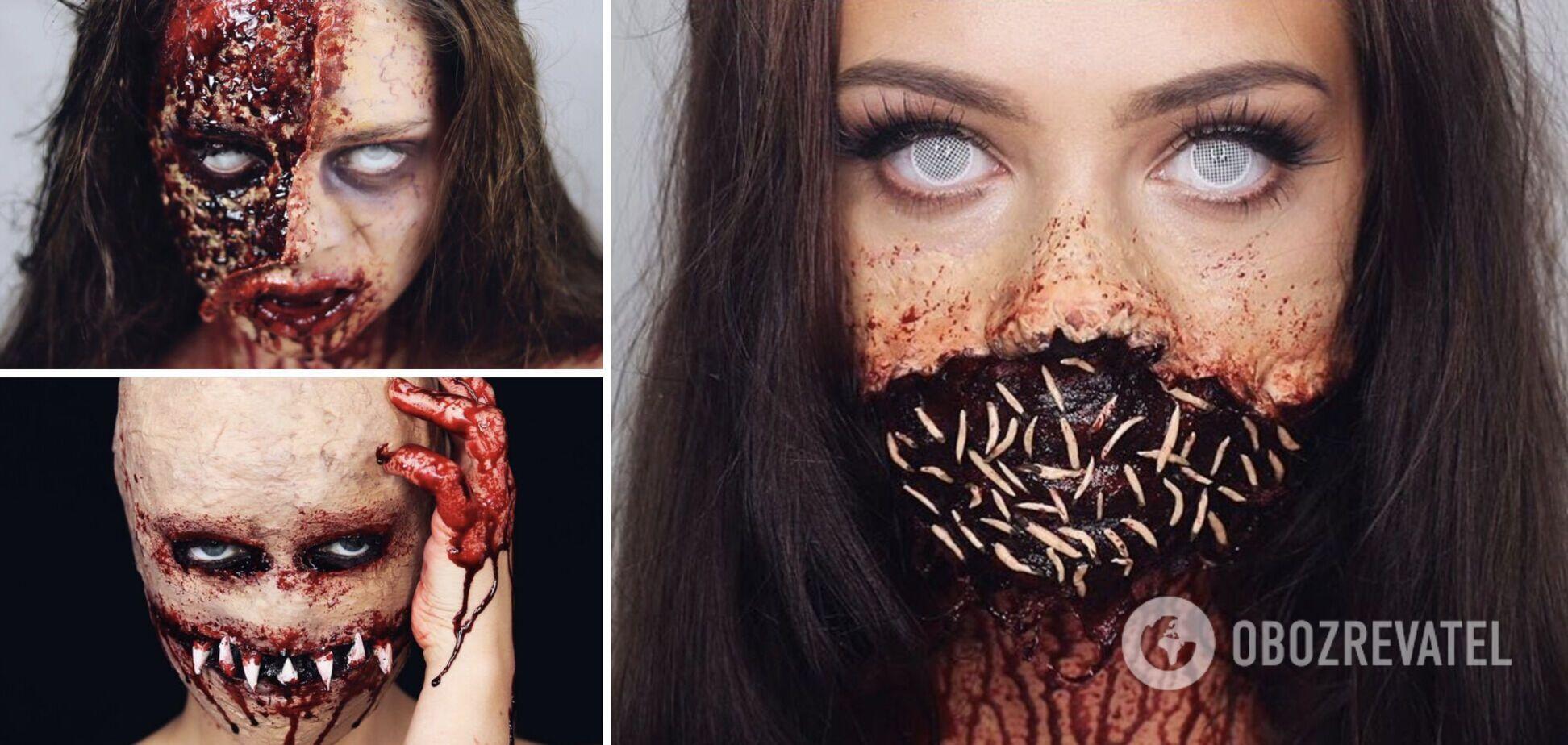 Девушка сделала реалистичный макияж на Хэллоуин