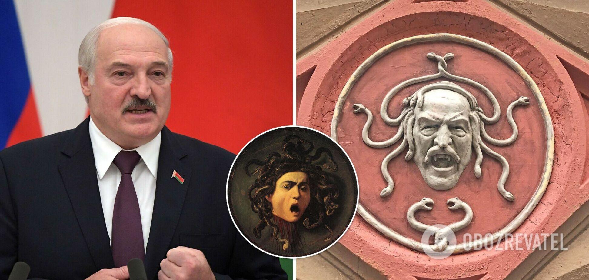 В Петербурге появился барельеф с горгоной Медузой и лицом Лукашенко. Фото