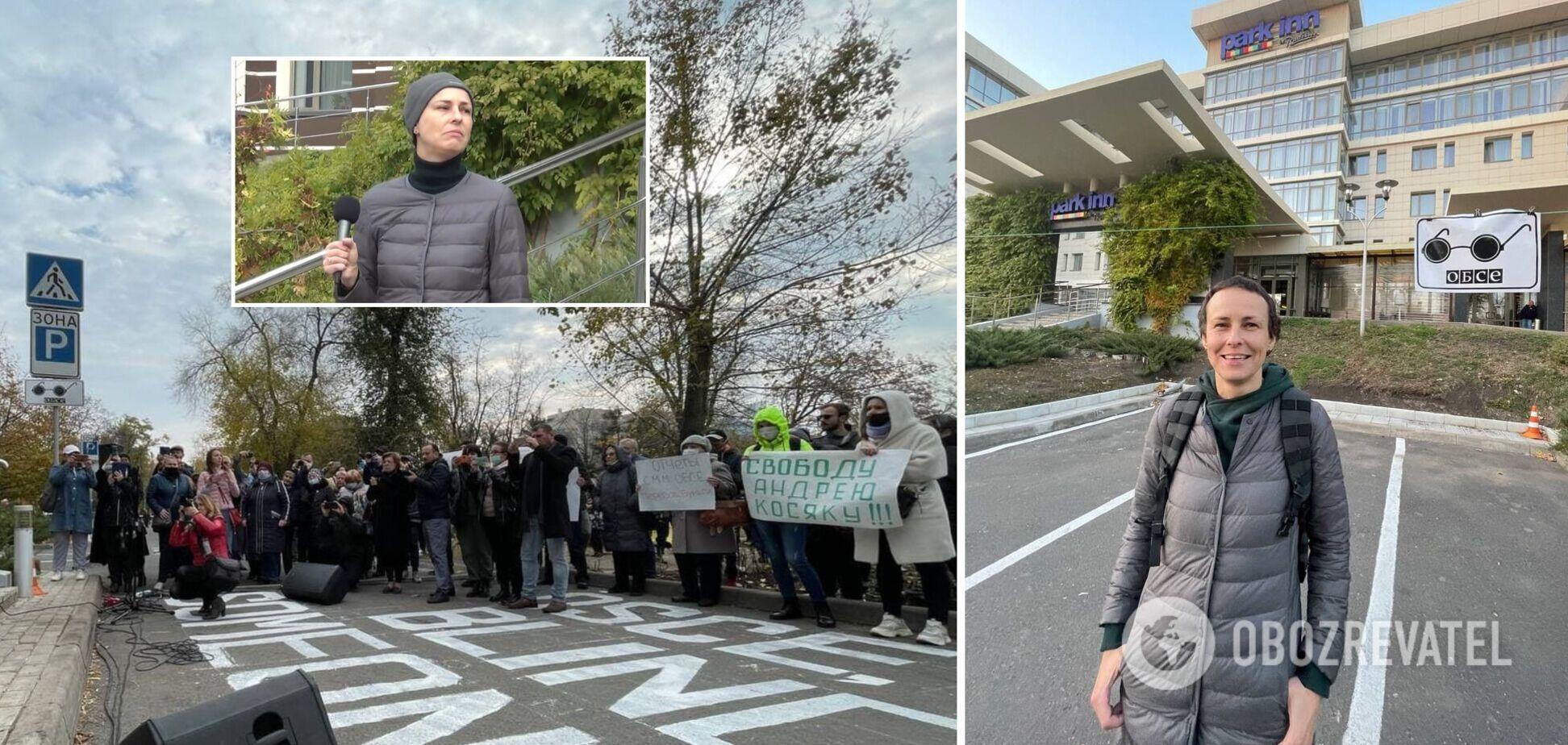 Фанатка 'Л/ДНР' Чичеріна влаштувала концерт під офісом ОБСЄ у Донецьку. Відео