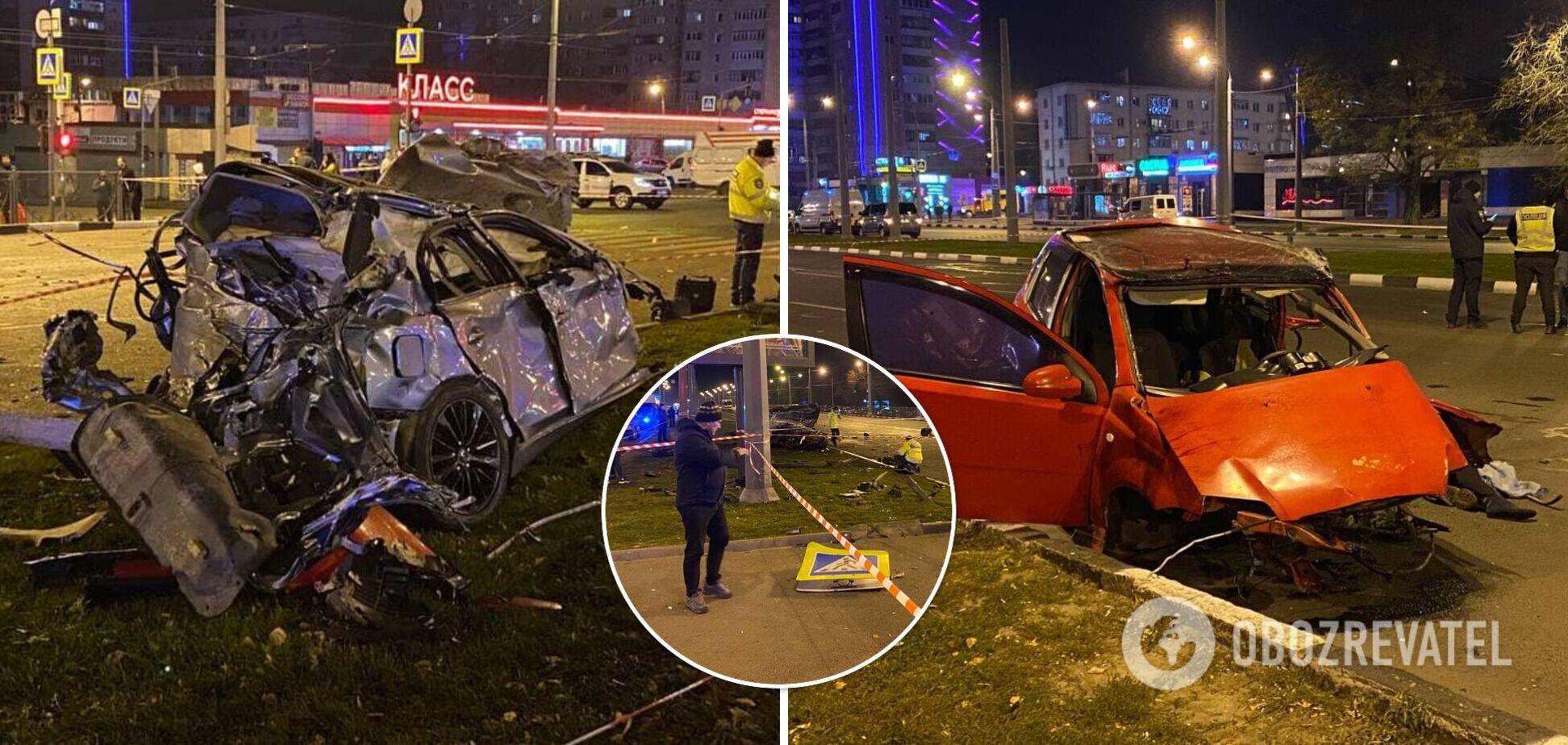 В Харькове на бешеной скорости столкнулись два авто: один погибший и трое пострадавших. Фото и видео