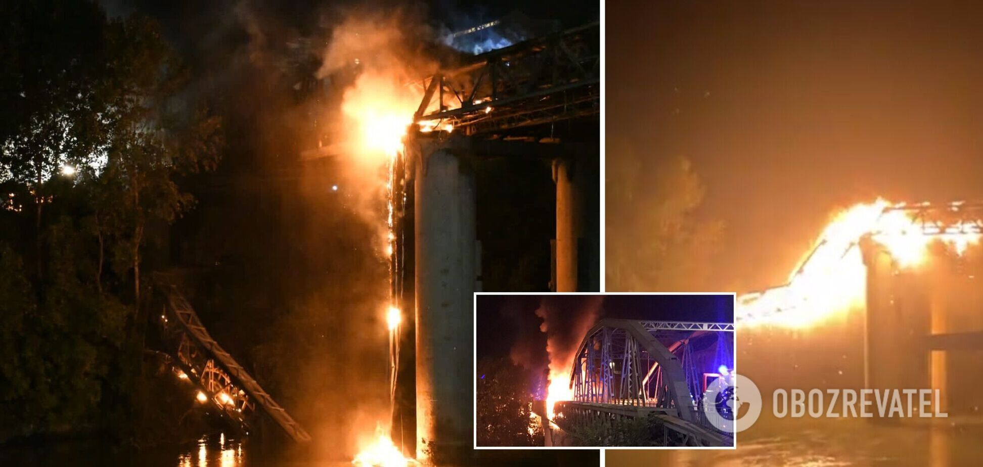 У Римі потужна пожежа знищила старовинний міст, частина конструкцій обвалилася. Фото та відео