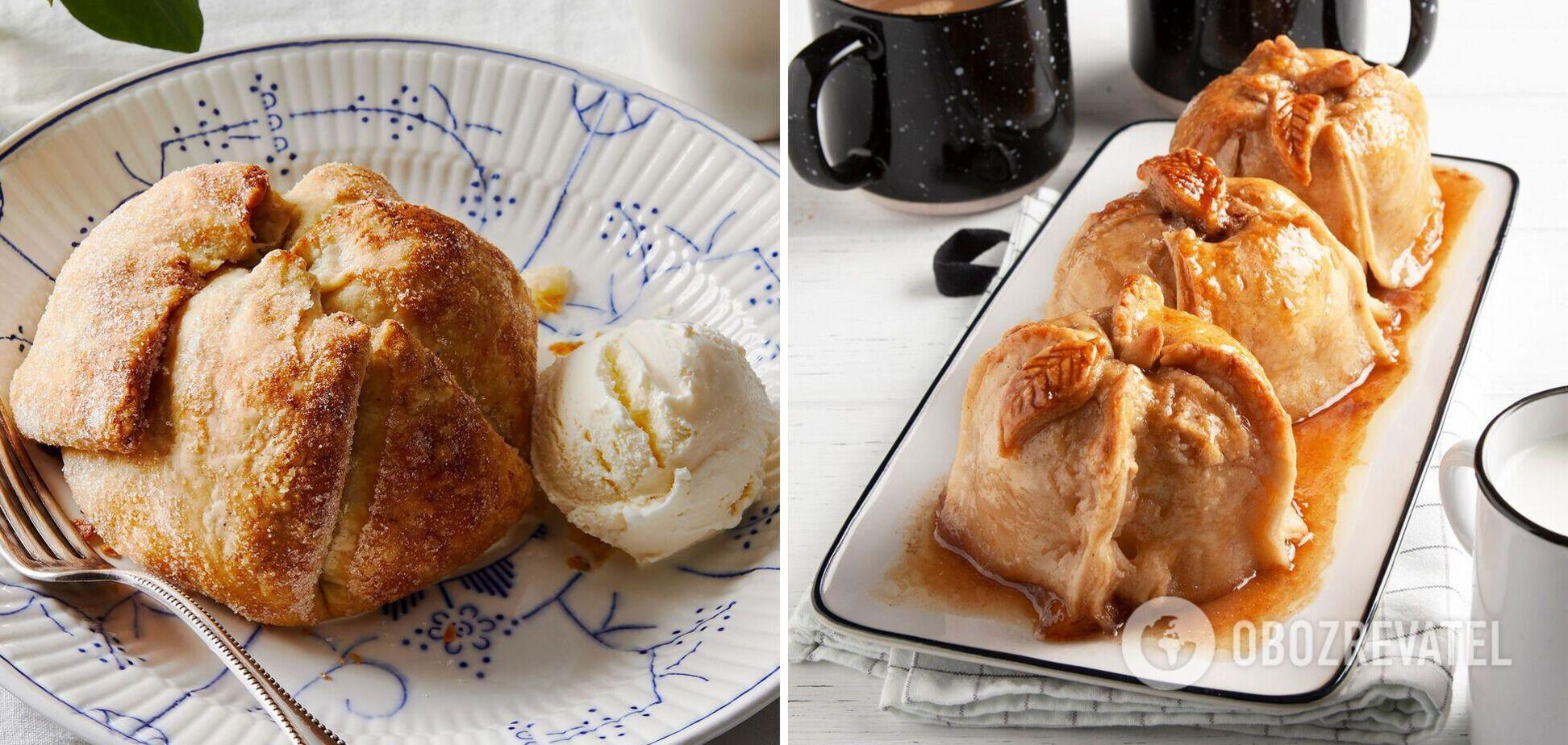 Запечені яблучні пельмені з морозивом