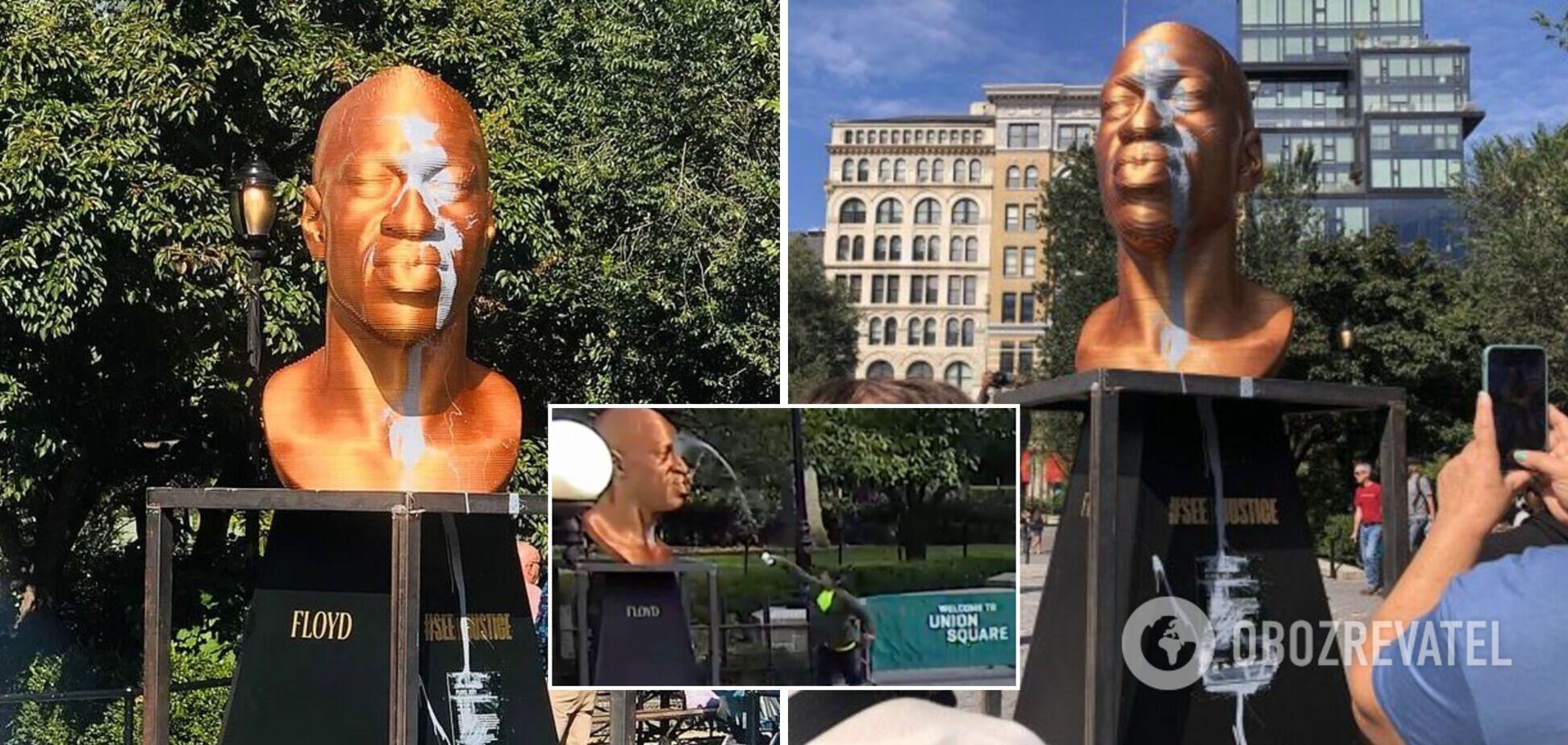 У Нью-Йорку облили фарбою статую Джорджа Флойда: вандал потрапив на відео