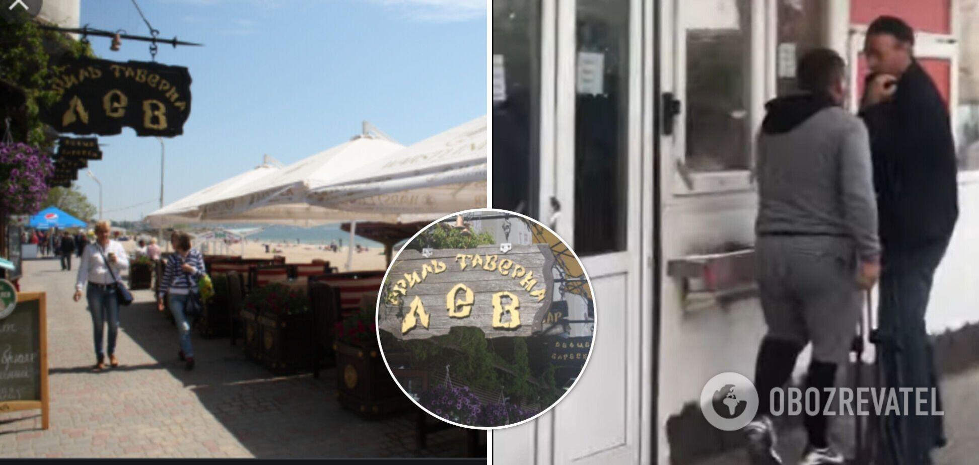 В Одессе владелец незаконно работающего кафе напал на журналистов во время съемки. Фото и видео