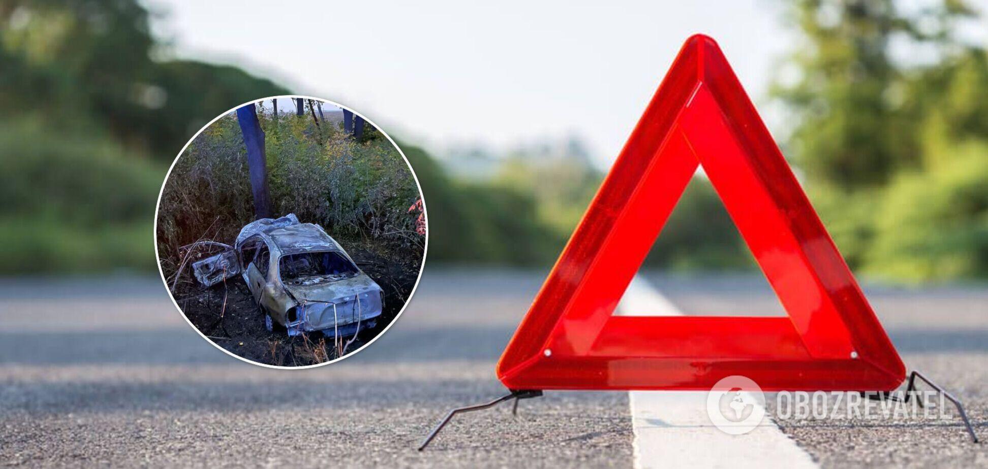 На Вінниччині авто злетіло в кювет і загорілося: водій загинув на місці. Фото