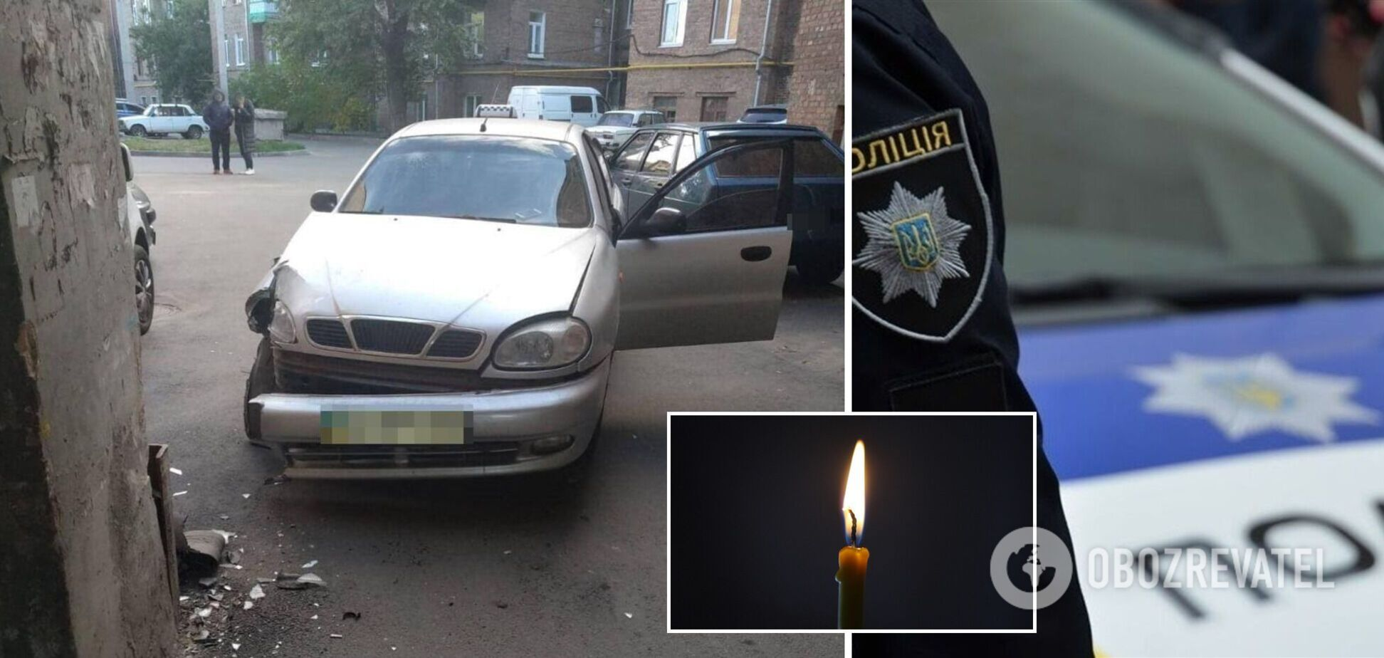 В Харькове водитель такси умер за рулем: машина врезалась в здание. Фото