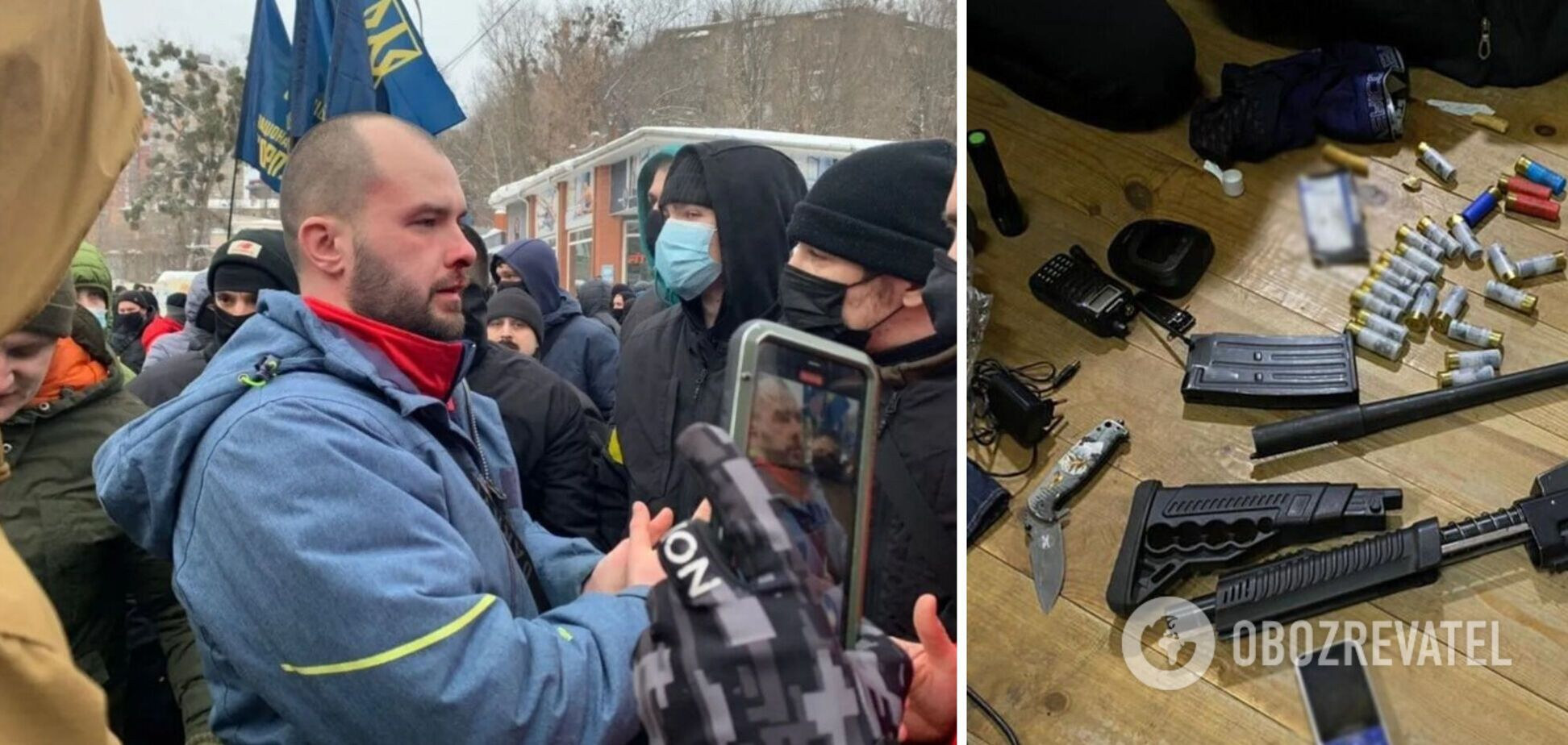 Поліція знайшла зброю і гранати на місці збору 'тітушок ОПЗЖ'. Фото