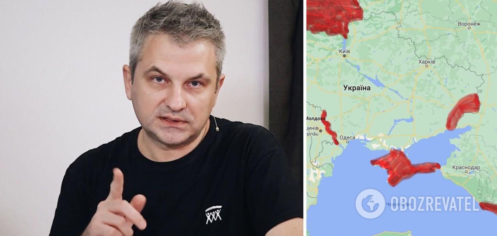 Журналіст показав карту з окупованими РФ територіями: Україна оточена по периметру