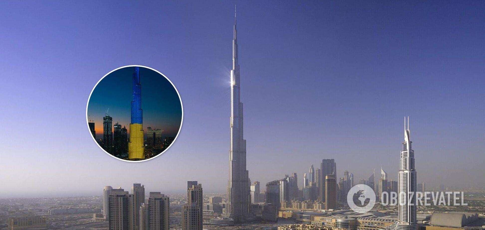 Самый высокий небоскреб в мире подсветили цветами флага Украины: Зеленский показал фото