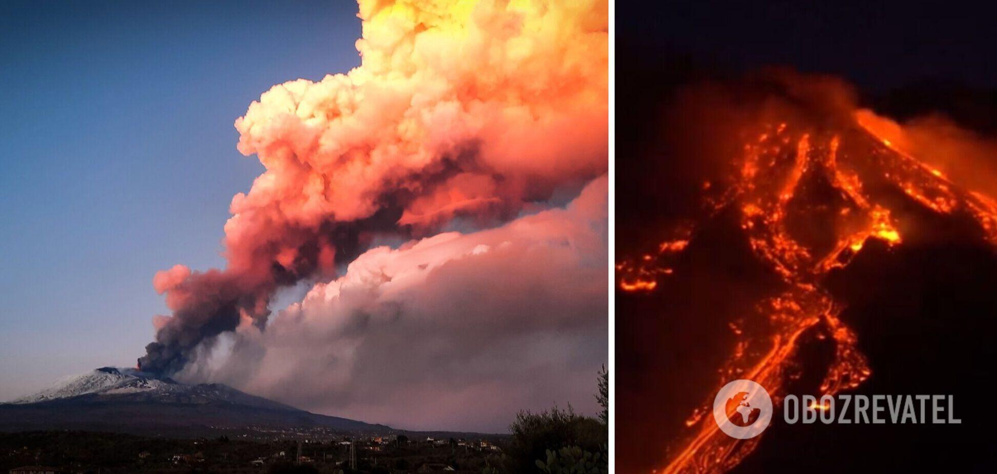 В Италии началось мощное извержение вулкана Этна. Зрелищные фото и видео