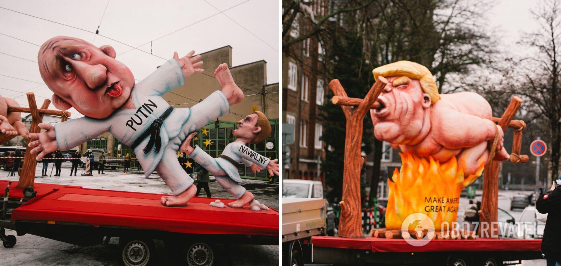В Германии прошел карнавал, где поджарили 'Трампа' и избили 'Путина'. Фото
