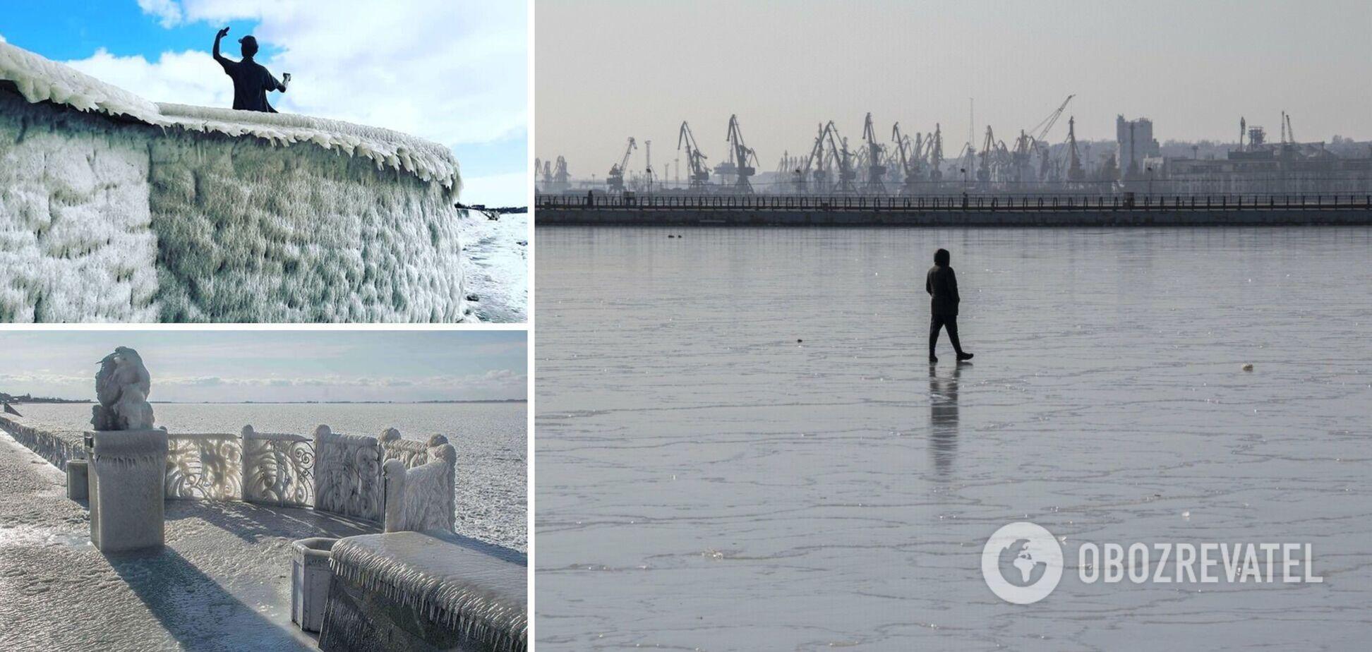 Азовское море покрылось льдом: появились яркие фото из Бердянска и Мариуполя