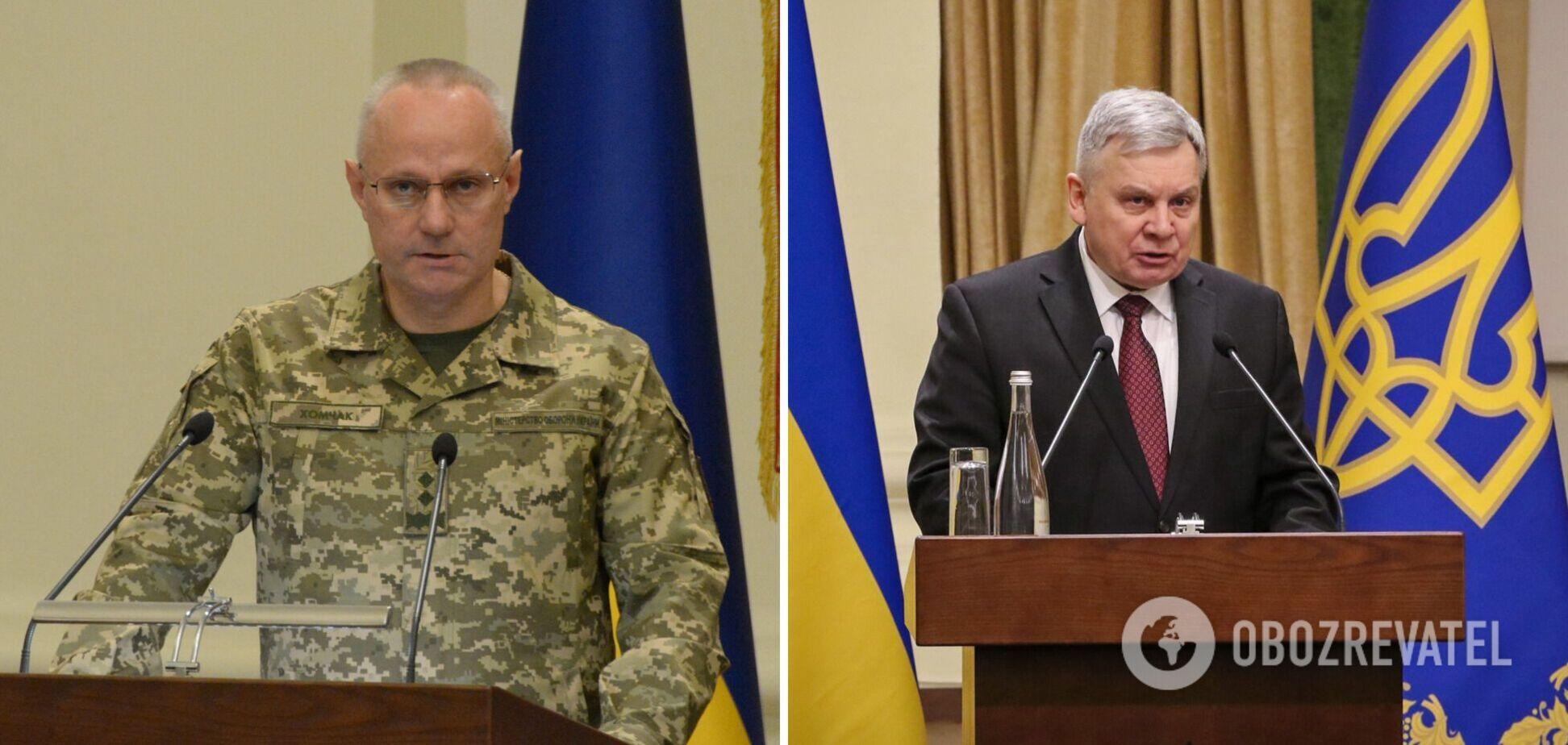 Головнокомандувач ЗСУ Руслан Хомчак та міністр оборони Андрій Таран