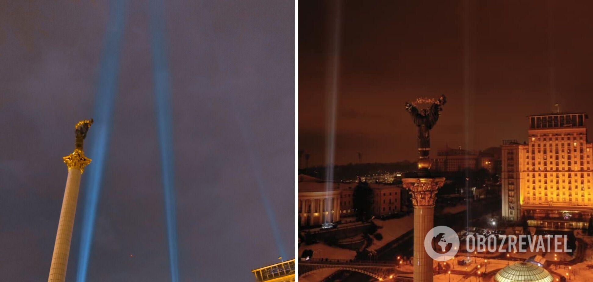 В Киеве зажгли Лучи достоинства в память о Небесной сотне. Фото и видео