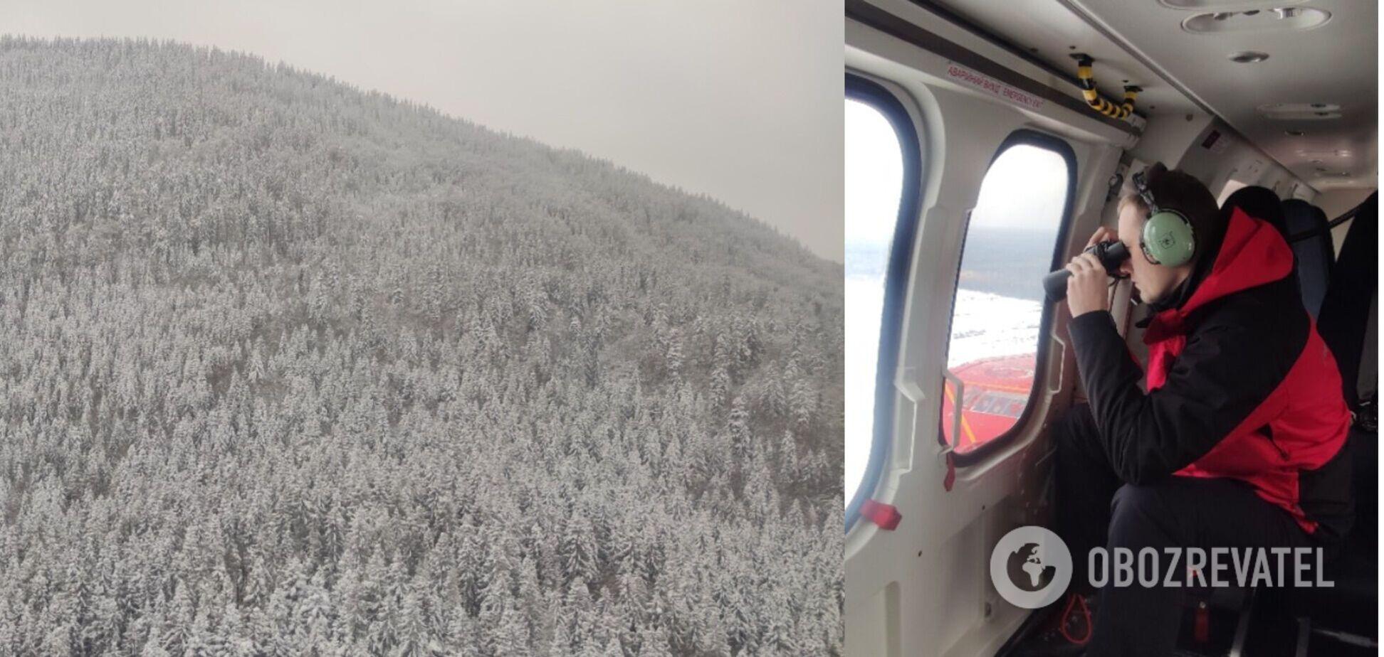 В Карпатах к поиску пропавшего туриста привлекли вертолет. Видео