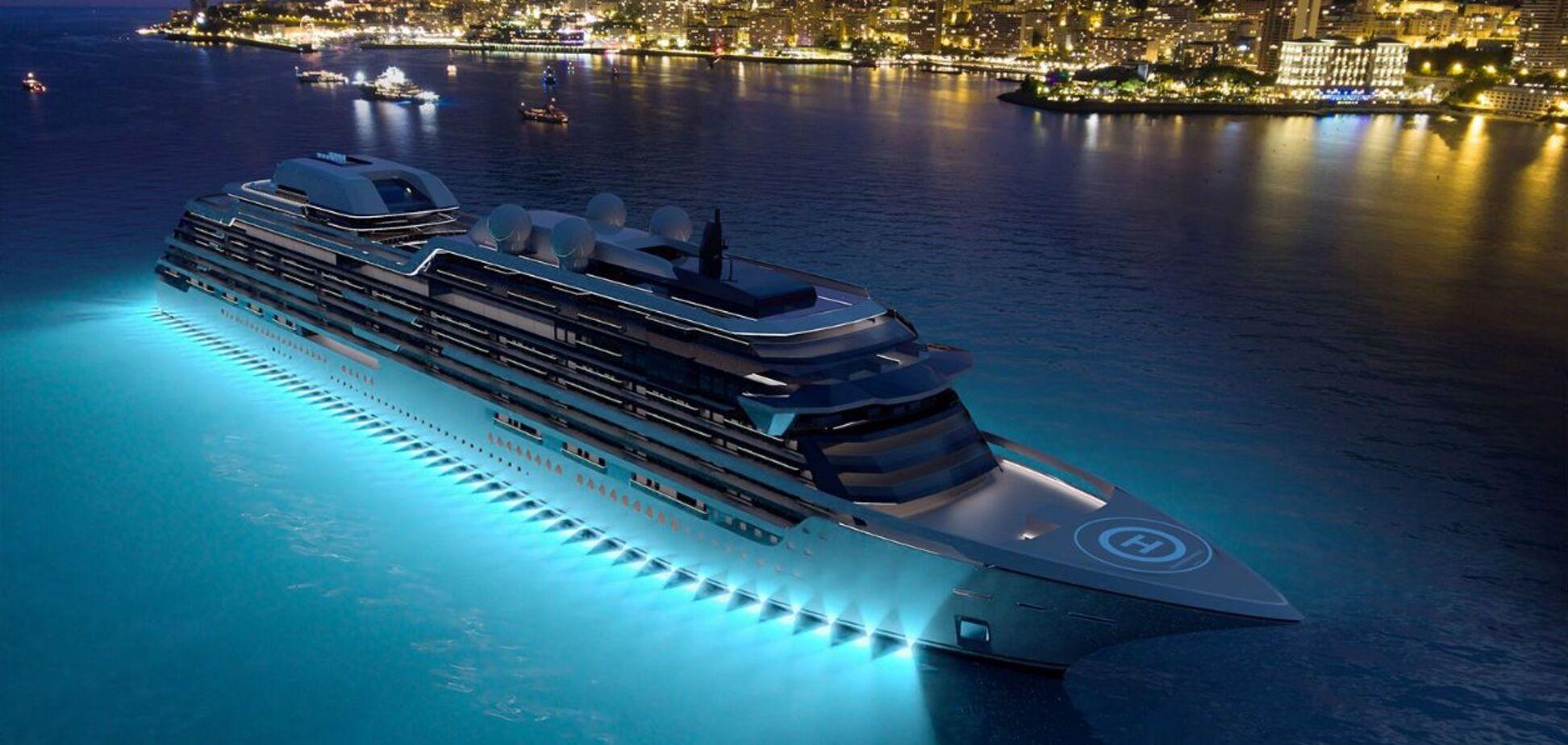 Яхта в ночное время