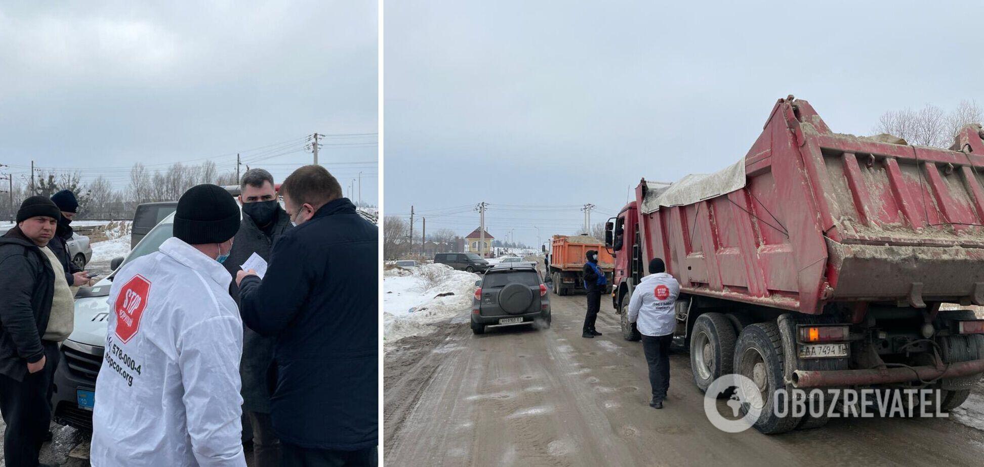 Под Киевом активисты зафиксировали попытку незаконной добычи песка. Фото