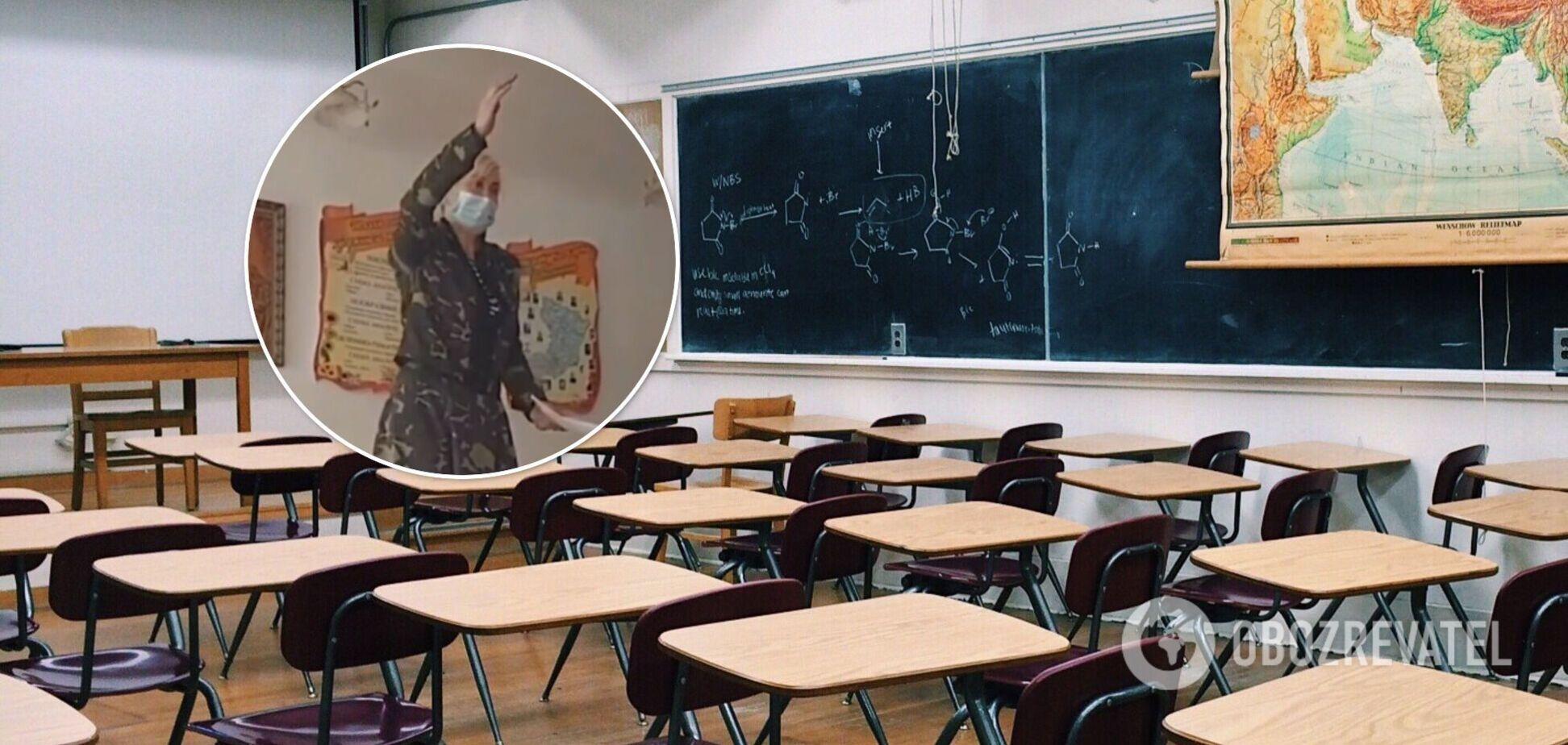 Учительница из Ривненщины залезла на парту