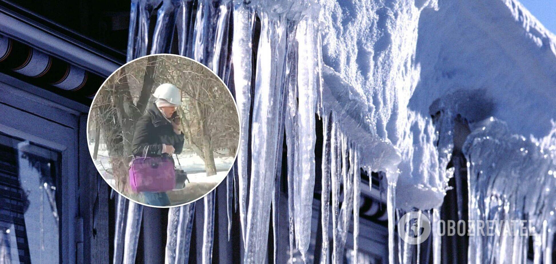 У столиці фіксують випадки травматизму через падіння брил снігу