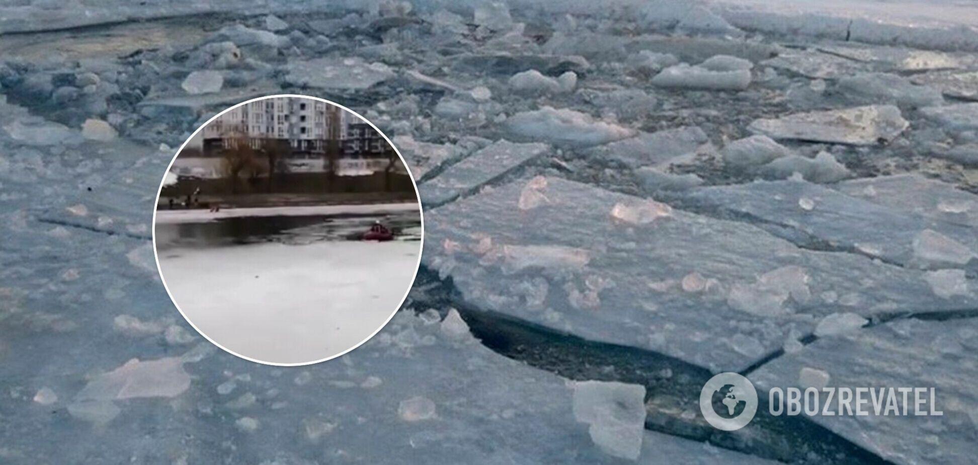 У Києві жінка провалилася під лід, намагаючись врятувати свого собаку. Відео