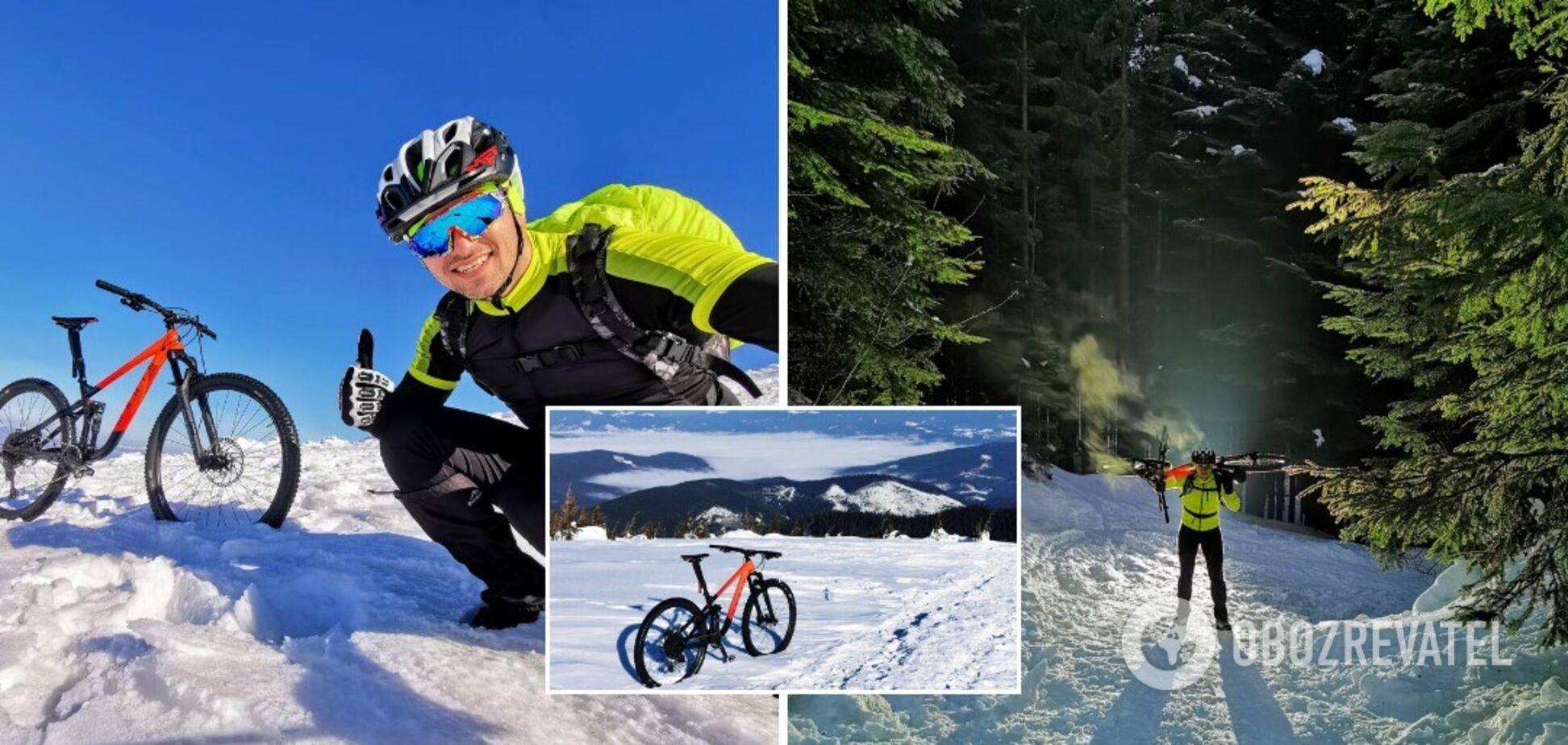 Украинец на велосипеде поднялся на заснеженную Говерлу