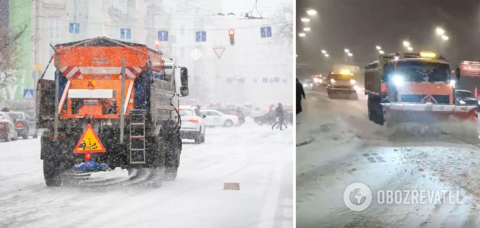 На вулиці Києва через снігопад вивели колони спецтехніки: Кличко показав відео