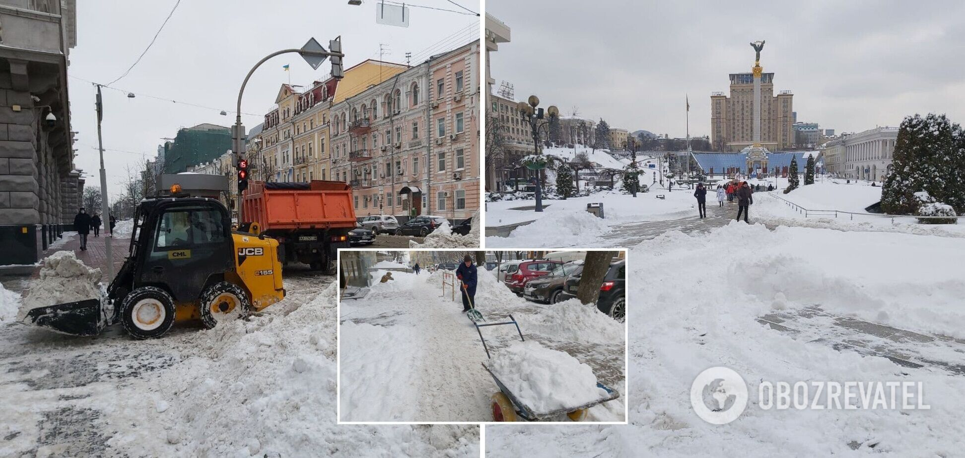 Много снега скопилось на краю проезжей части
