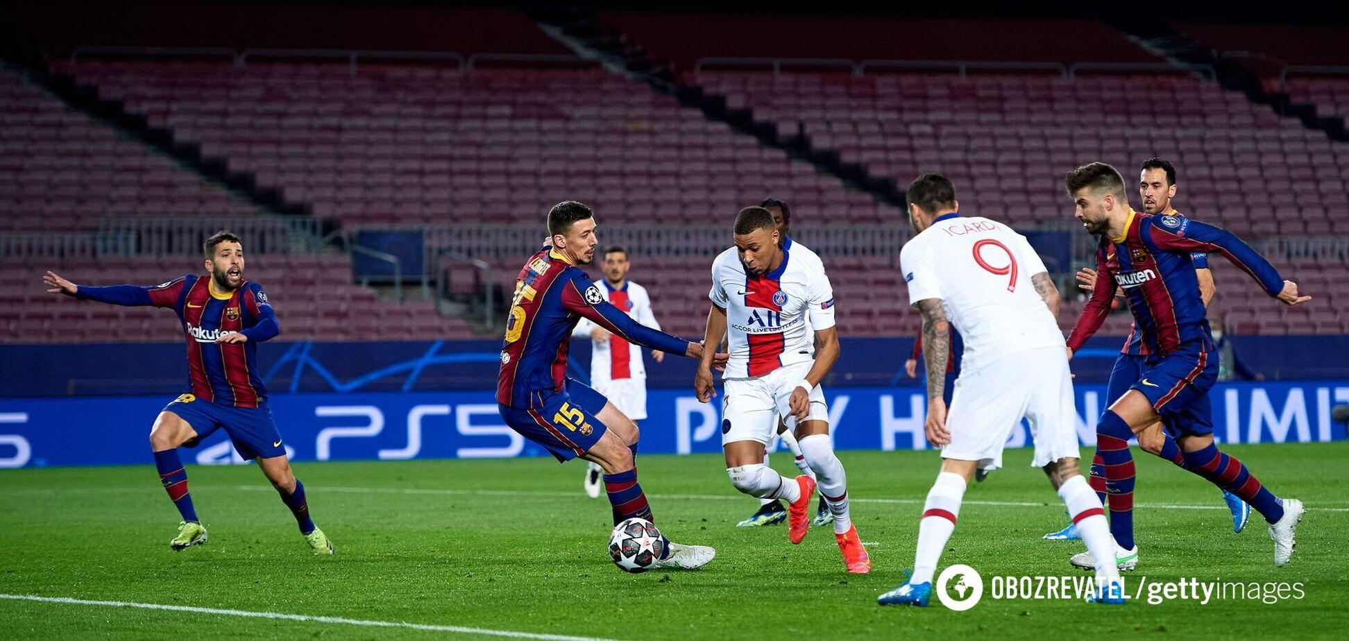 Мбаппе забивает первый гол 'Барселоне'