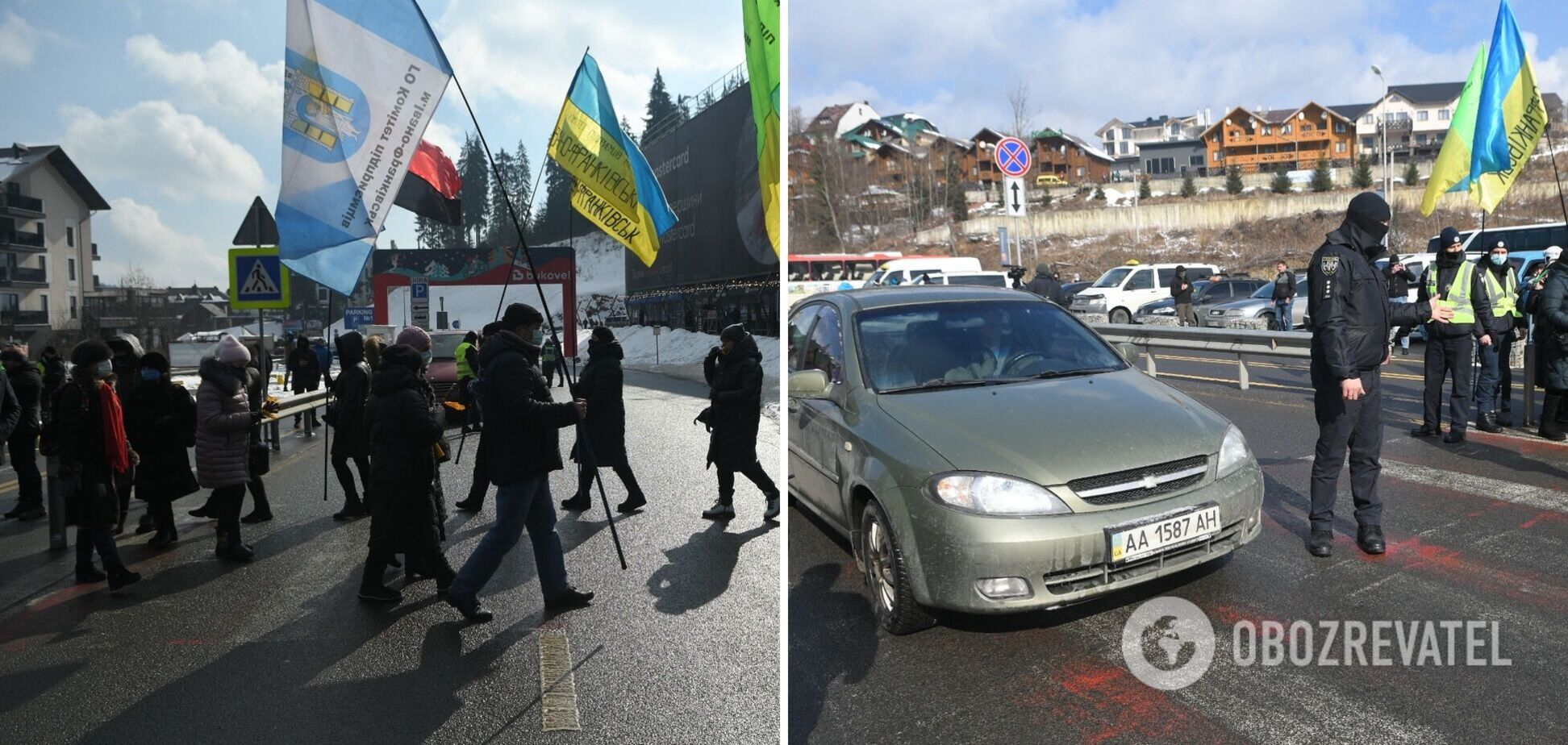На Прикарпатті перекрили дорогу на 'Буковель' і вимагали закриття курорту. Фото та відео