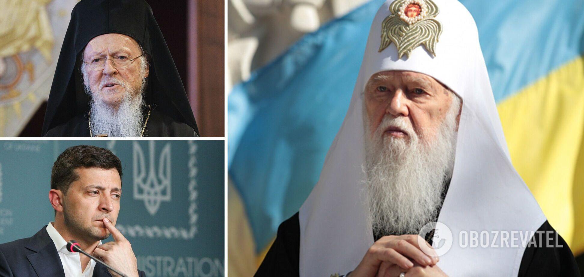 Філарет закликав Зеленського вимагати від Варфоломія новий Томос для України