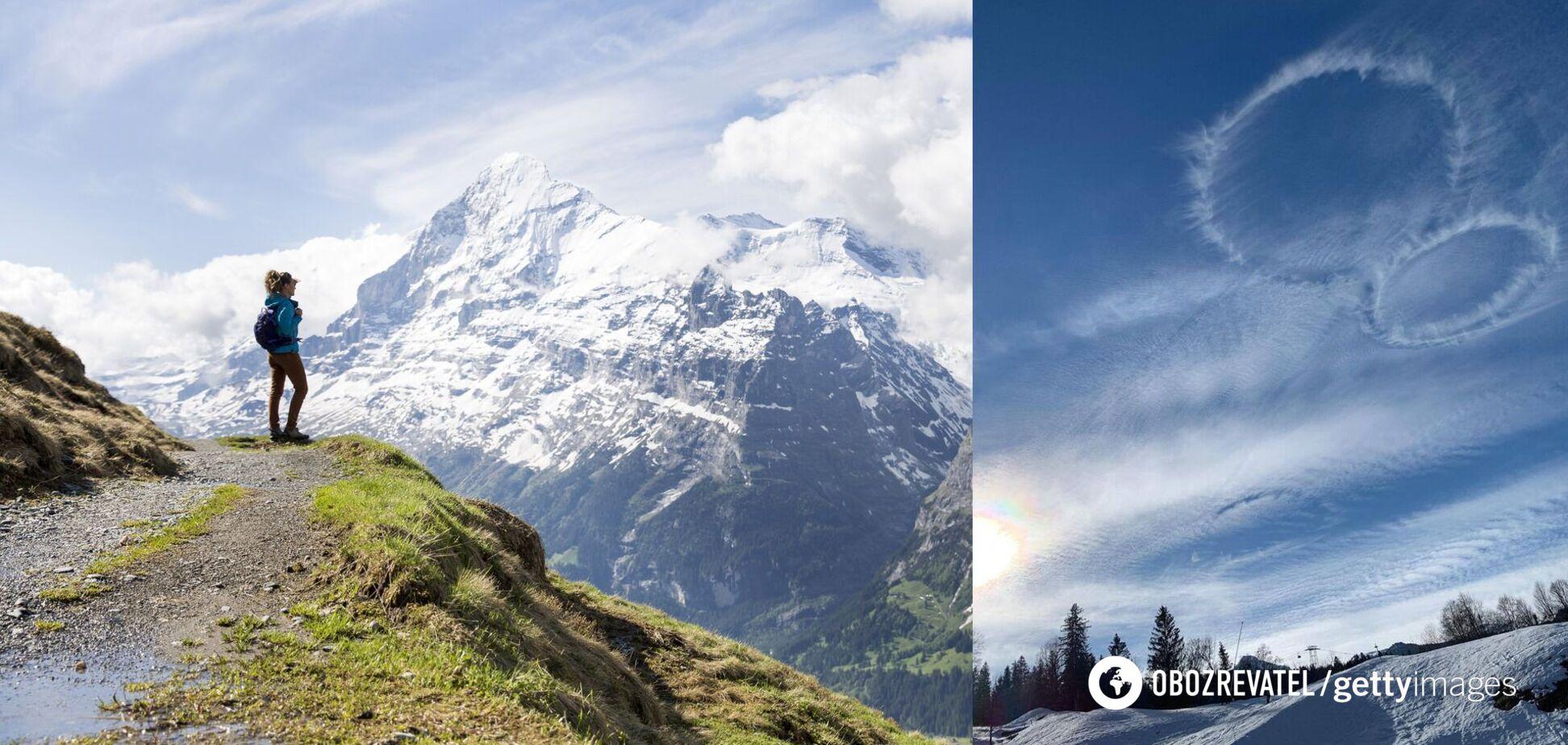 В небе над Альпами заметили загадочные круги. Фото
