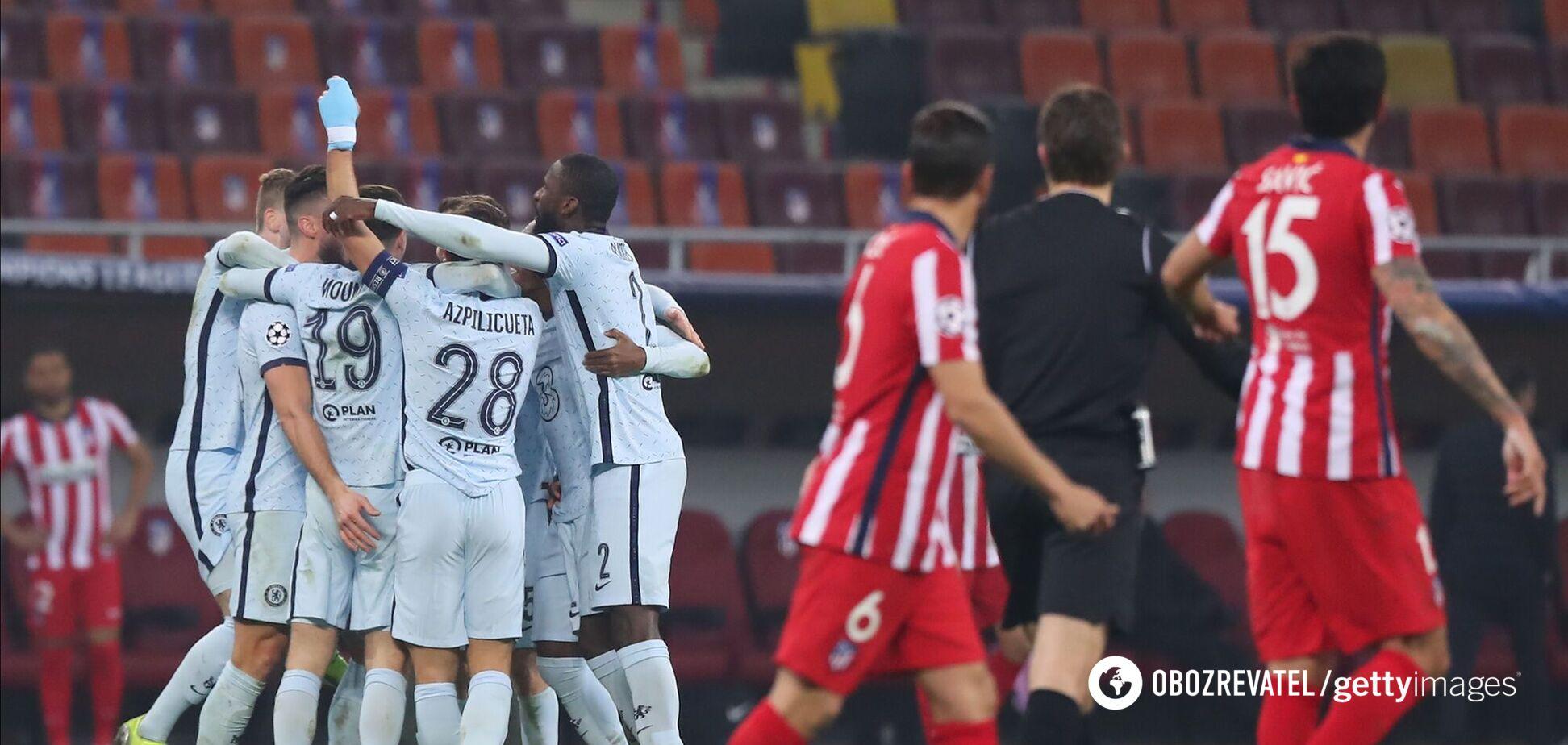 'Челси' празднует гол в ворота 'Атлетико'