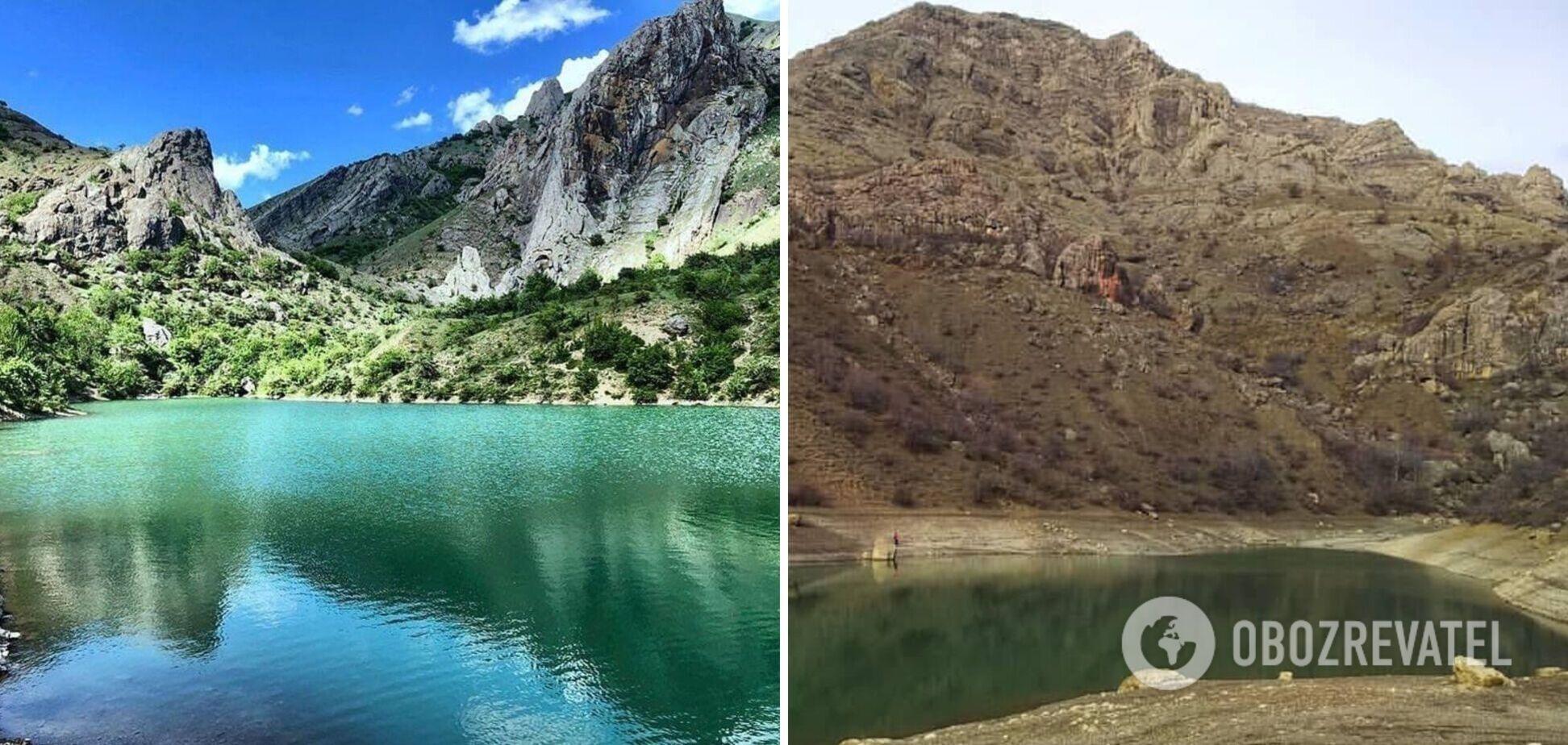 В сети показали, как одно из самых красивых озер Крыма превратилось в 'лужу'. Фото