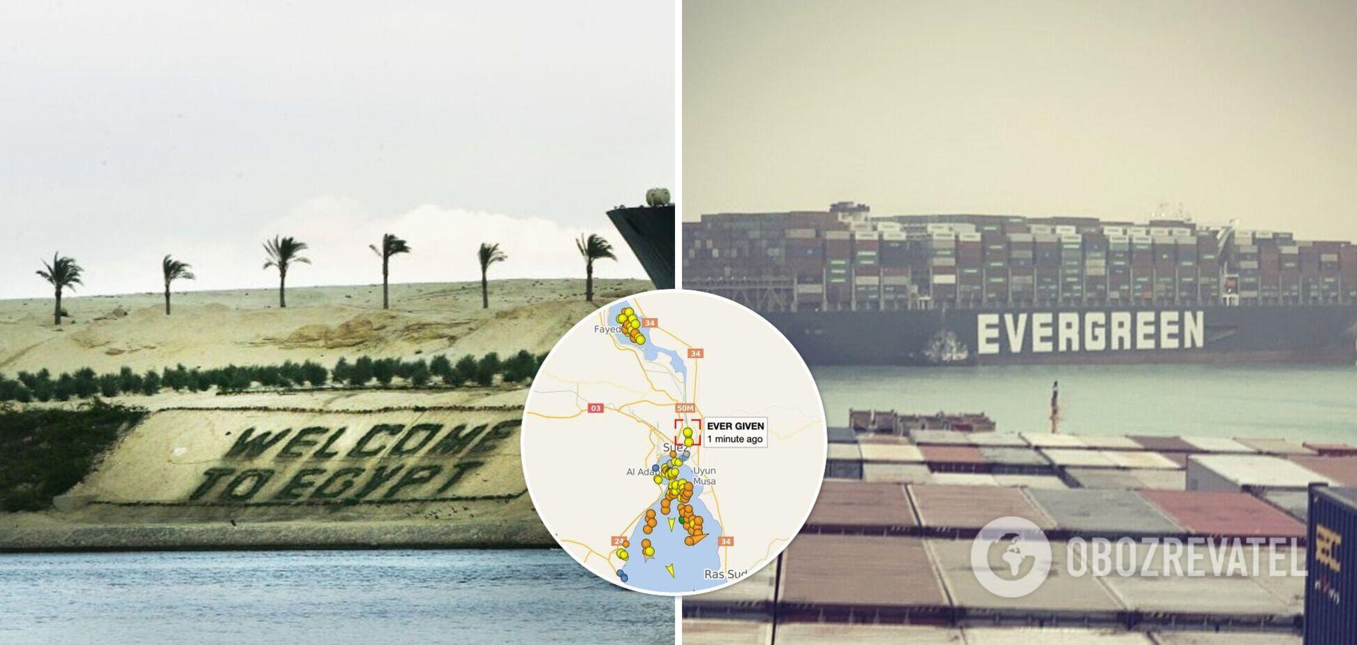 В Суэцком канале огромное судно село на мель и заблокировало движение. Фото