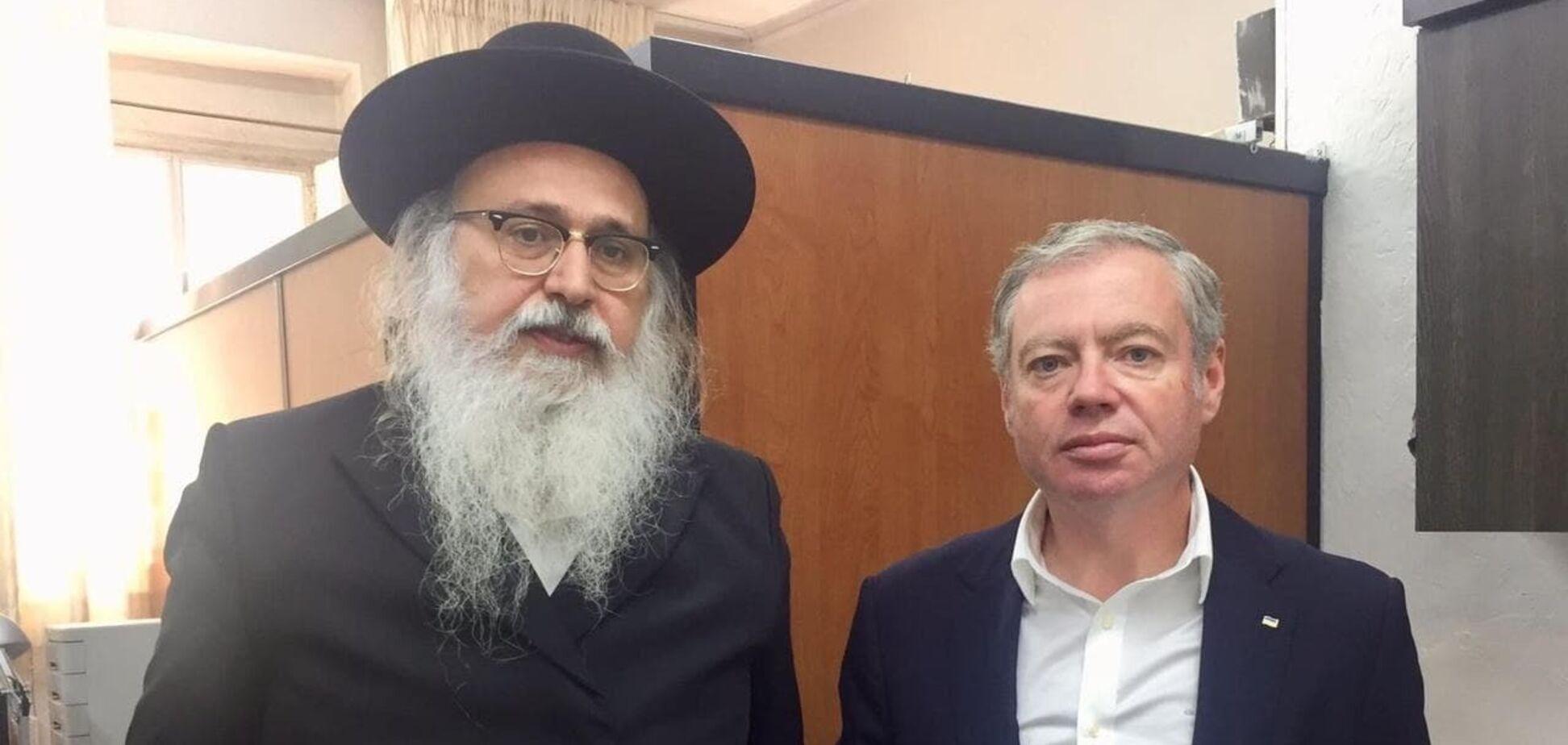 Встреча посла Украины в Израиле Евгения Корнийчука с президентом МБФ им. Раби Нахмана Натаном Бен-Нуном