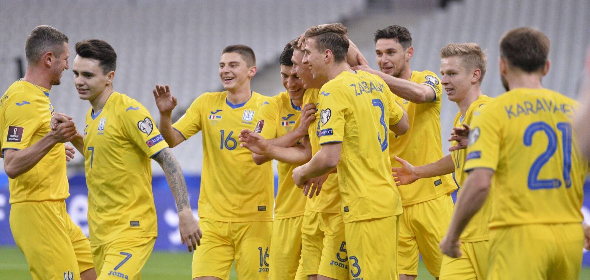 Футболісти збірної України святкують гол