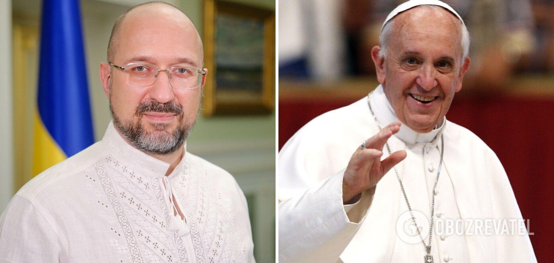 Шмигаль на зустрічі з папою Римським без маски: коли він встиг вакцинуватися?
