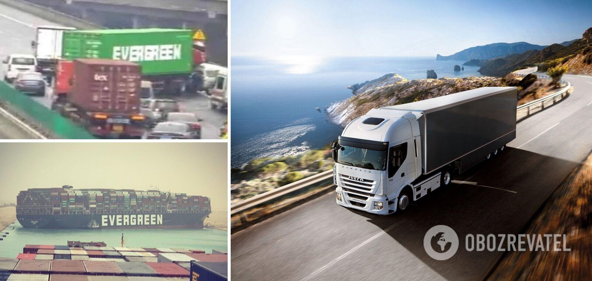 В Китае фура компании Evergreen, перекрывшей Суэцкий канал, заблокировала трассу