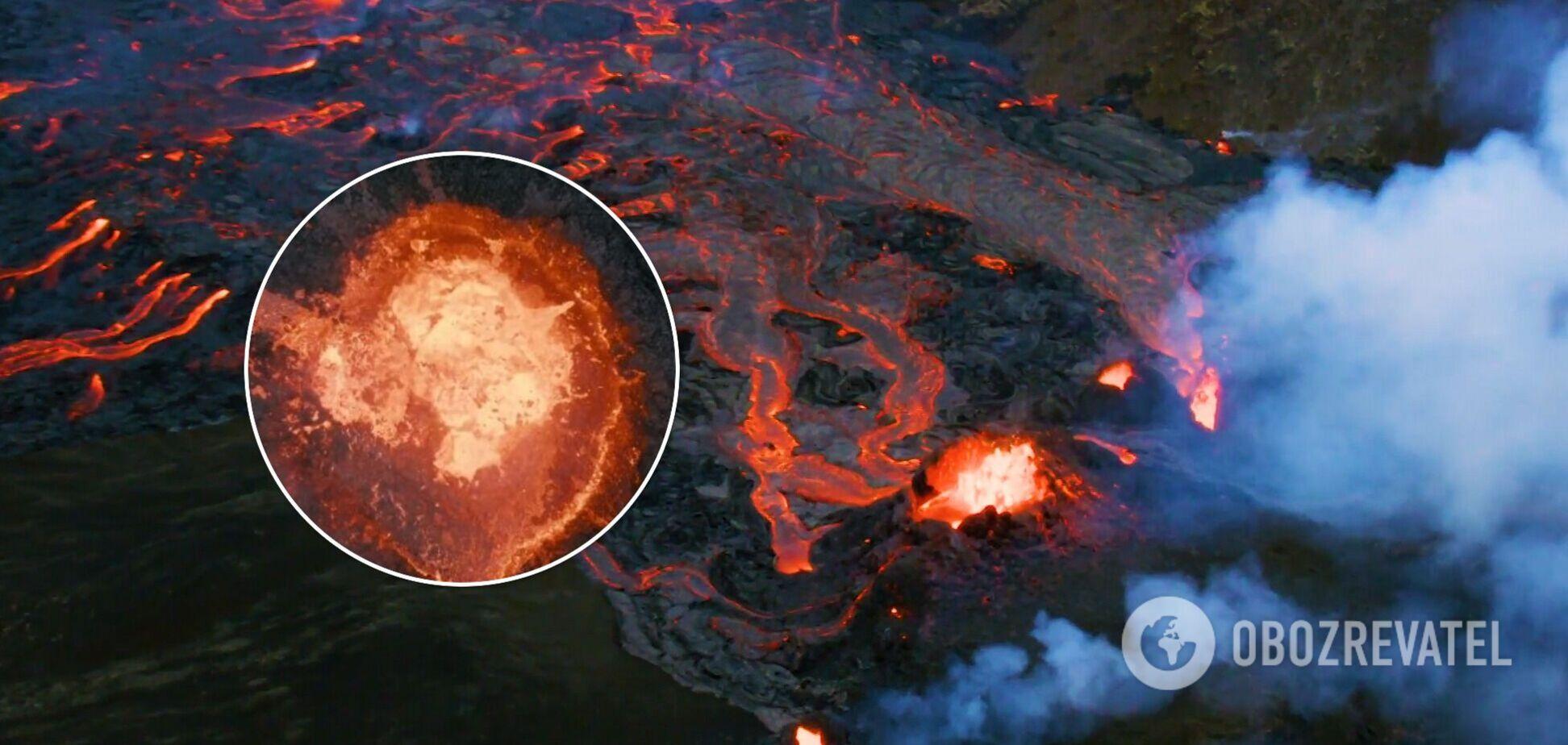 Фотограф в Исландии расплавил свой дрон, чтобы снять извержение вулкана максимально близко. Видео