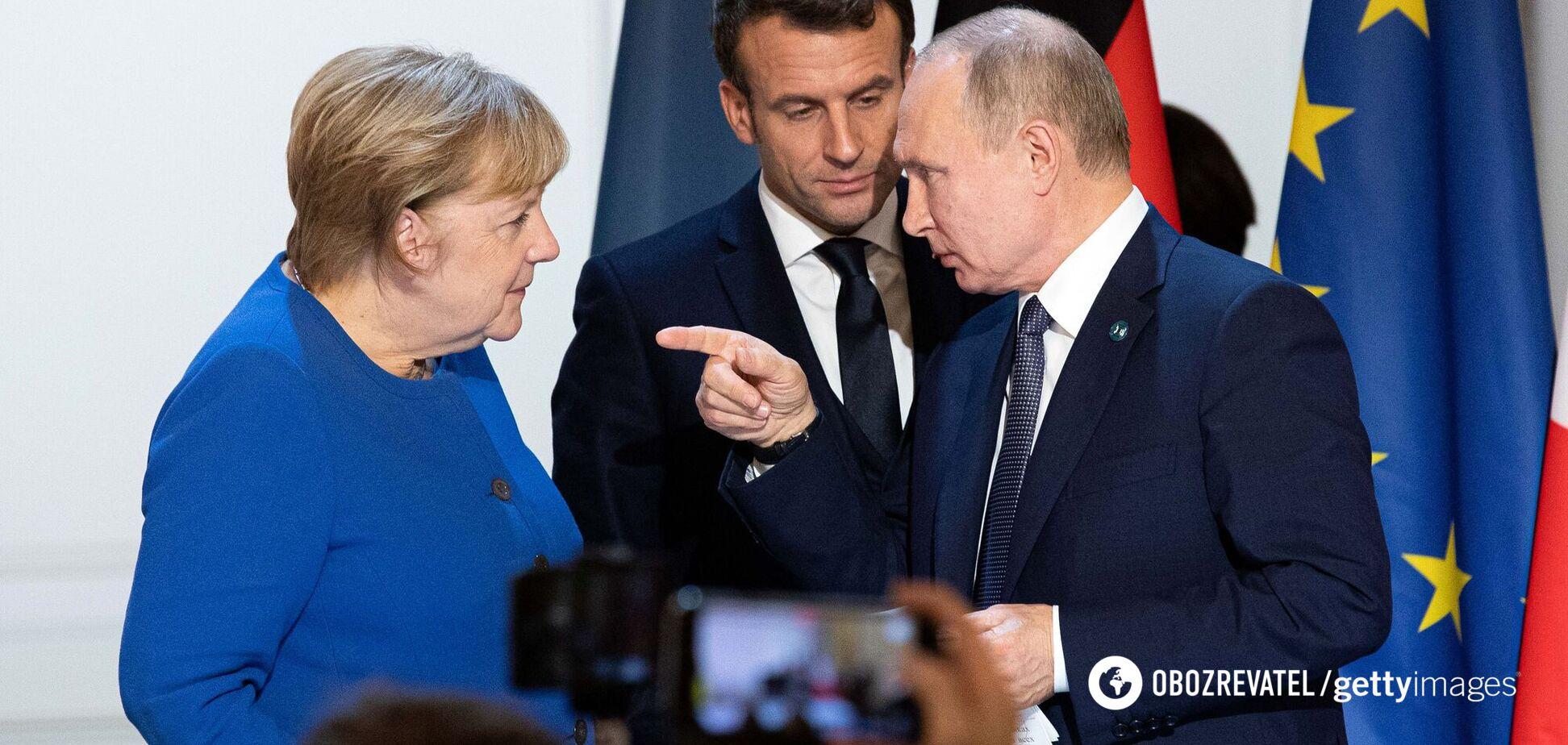 Ангела Меркель, Эммануэль Макрон и Владимир Путин