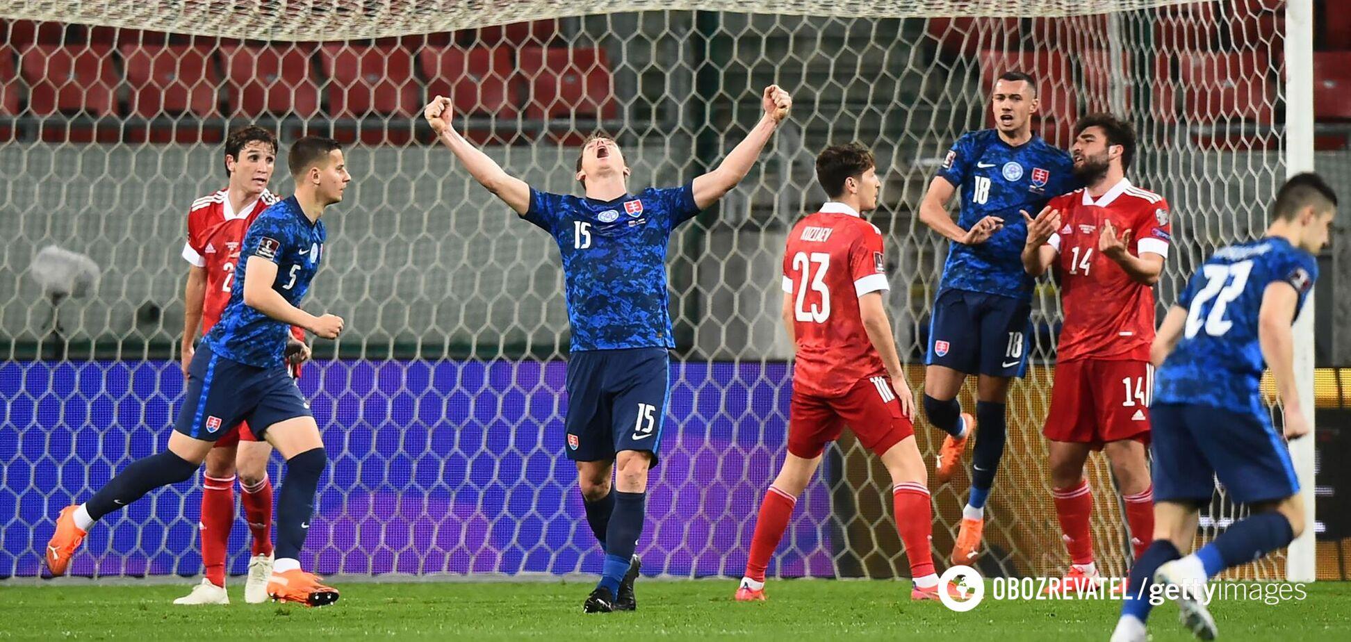 Гравець збірної Словаччини святкує гол