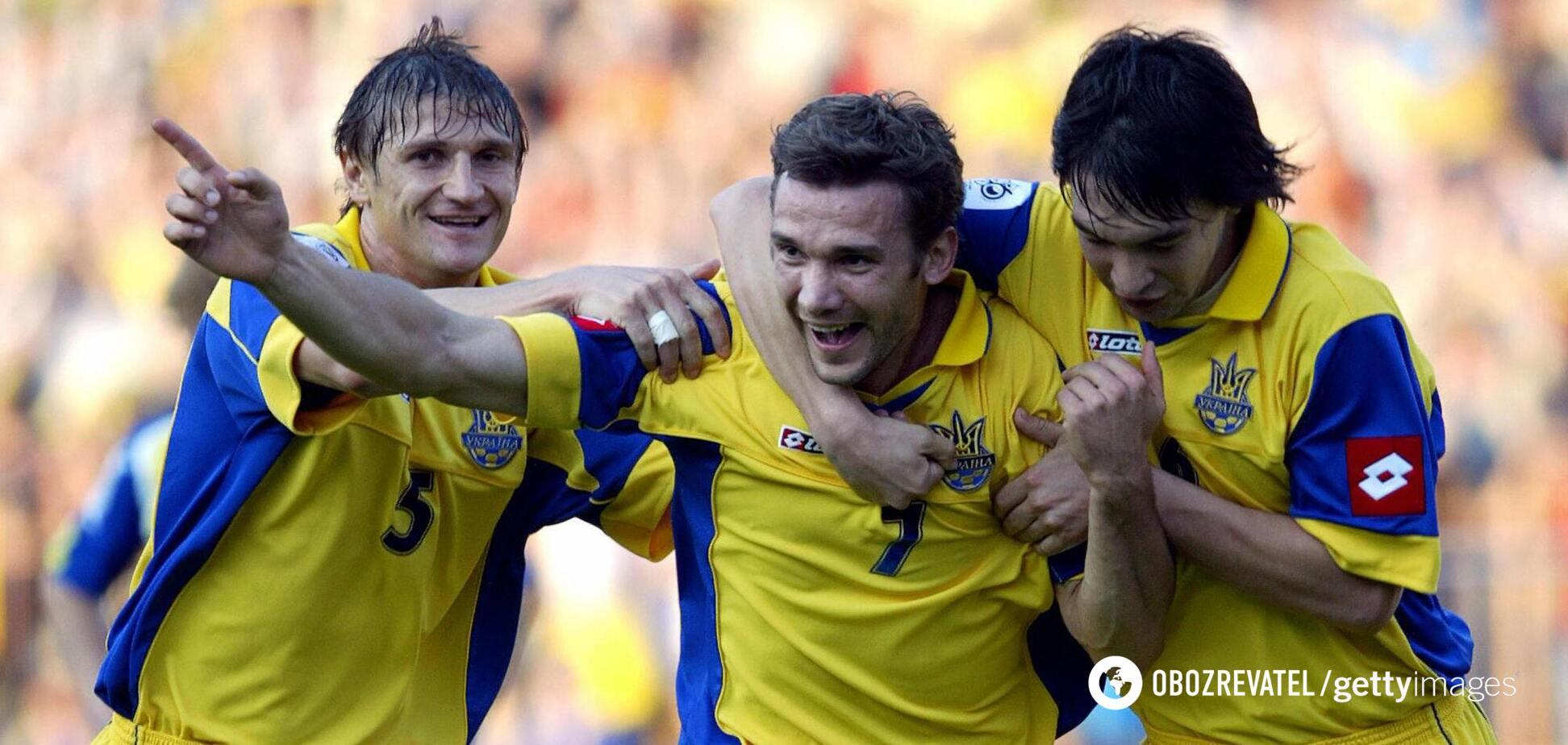Андрій Шевченко святкує гол у ворота Казахстану