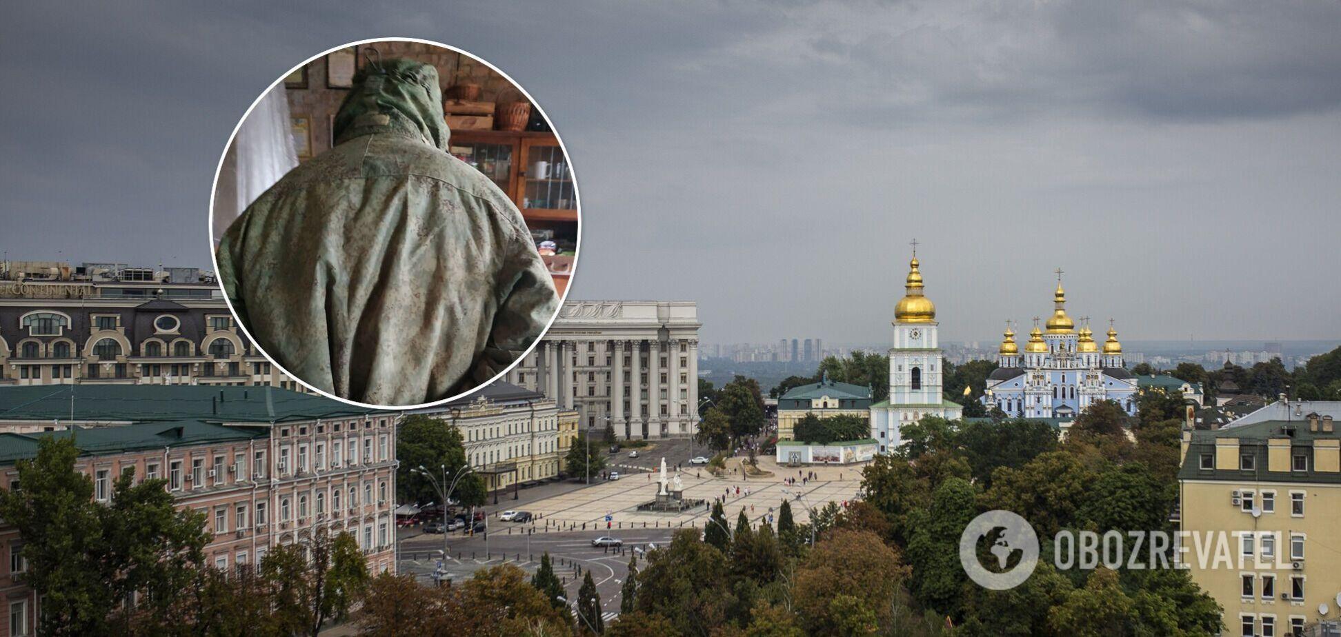 По Києву гуляв українець в російському камуфляжі