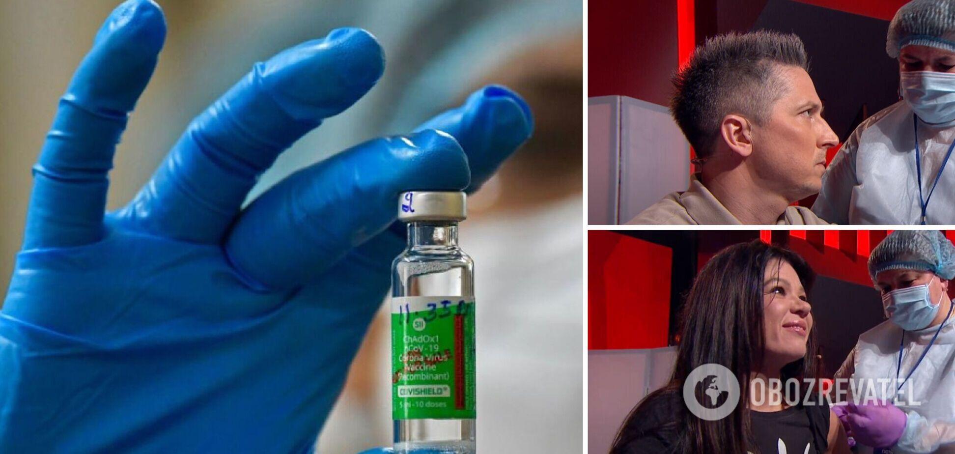 Педан, Руслана, чемпіон світу та відомі лікарі вакцинувалися в прямому ефірі. Відео